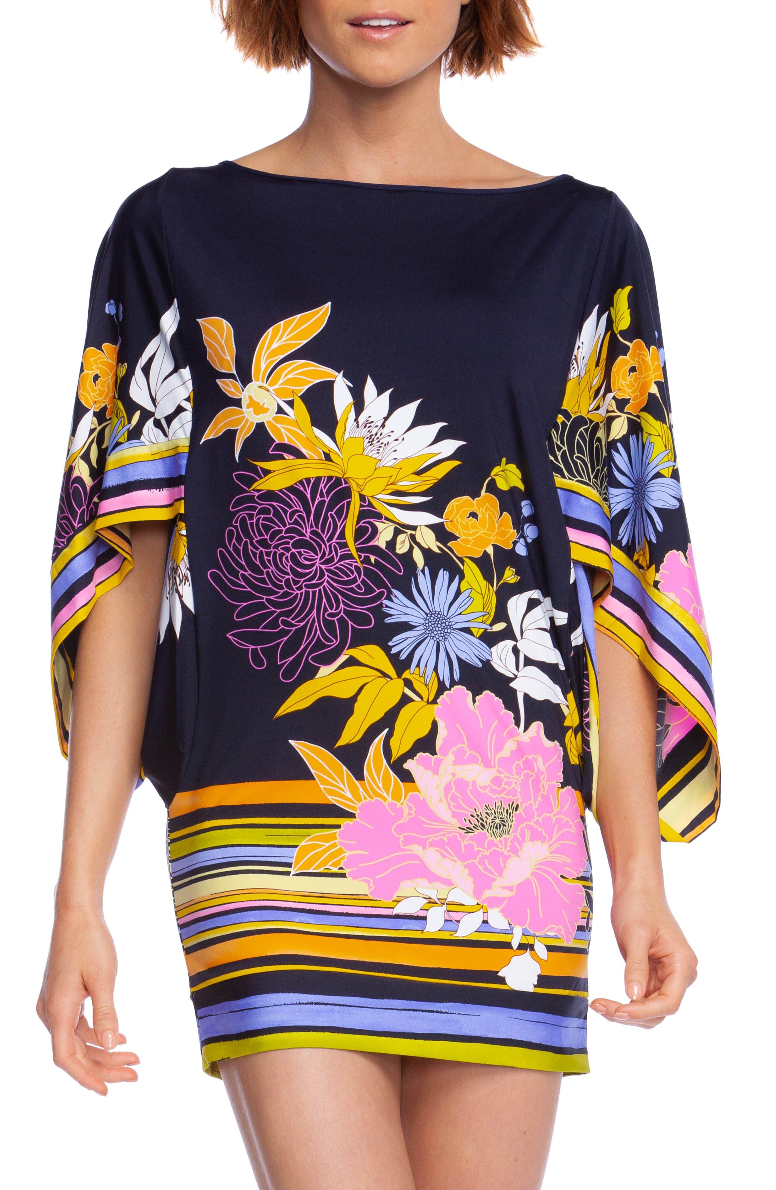 Trina Turk Bal Harbour Flutter Sleeve Tunic Dress, Blue
