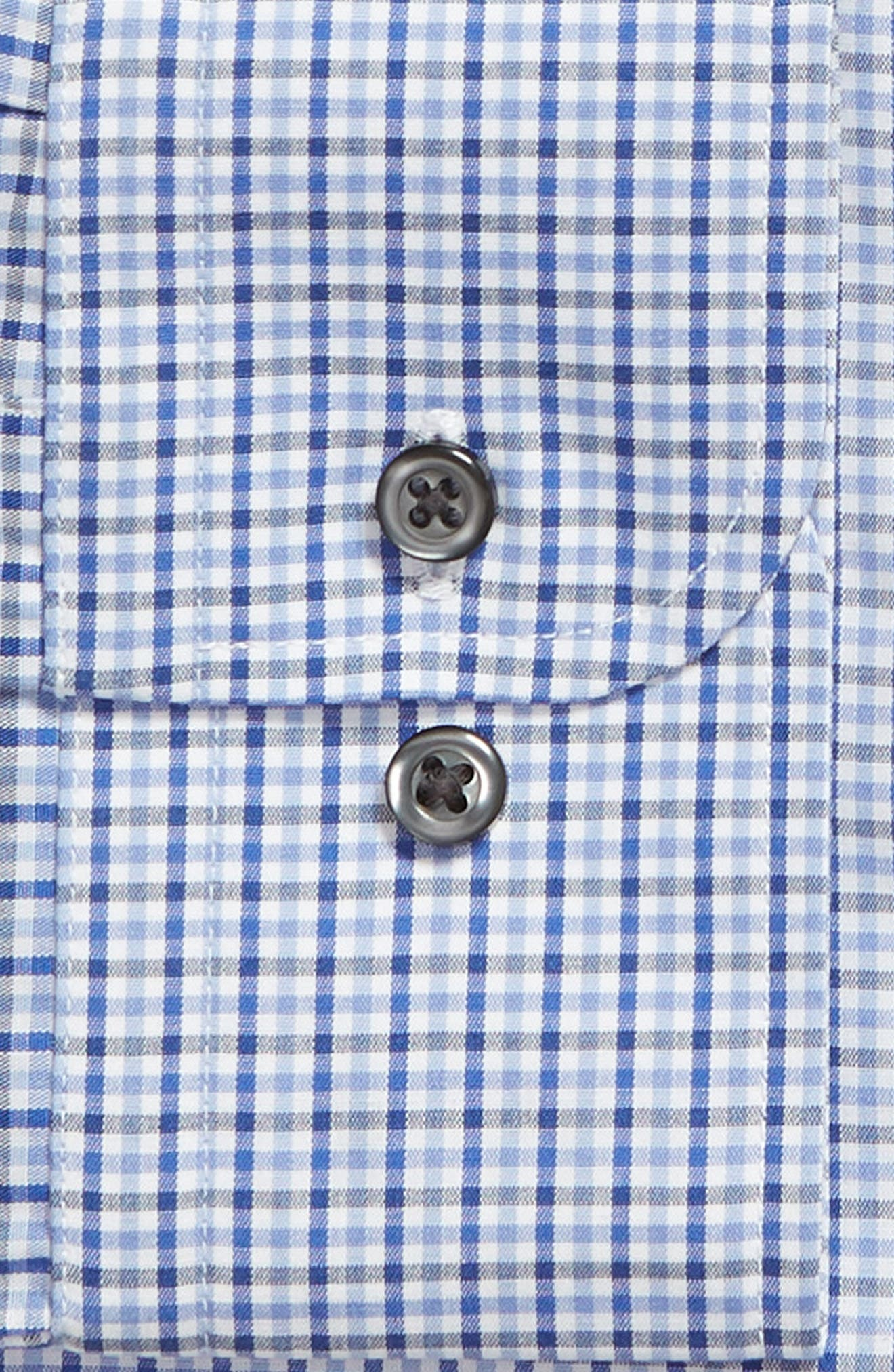 NORDSTROM MEN'S SHOP, Traditional Fit Non-Iron Check Dress Shirt, Alternate thumbnail 6, color, BLUE MARINE