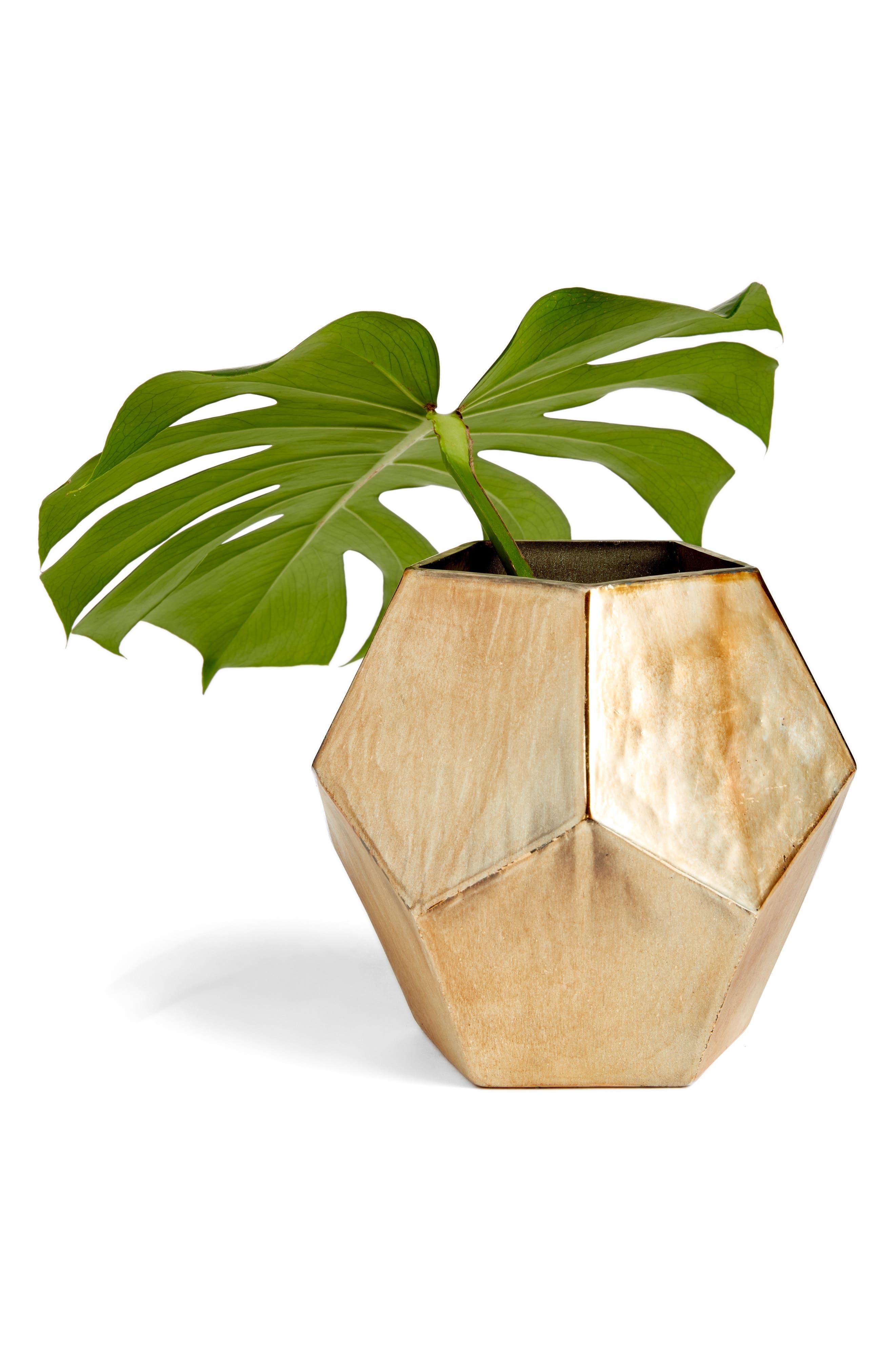 TREASURE & BOND Medium Geo Metallic Glass Vase, Main, color, GOLD