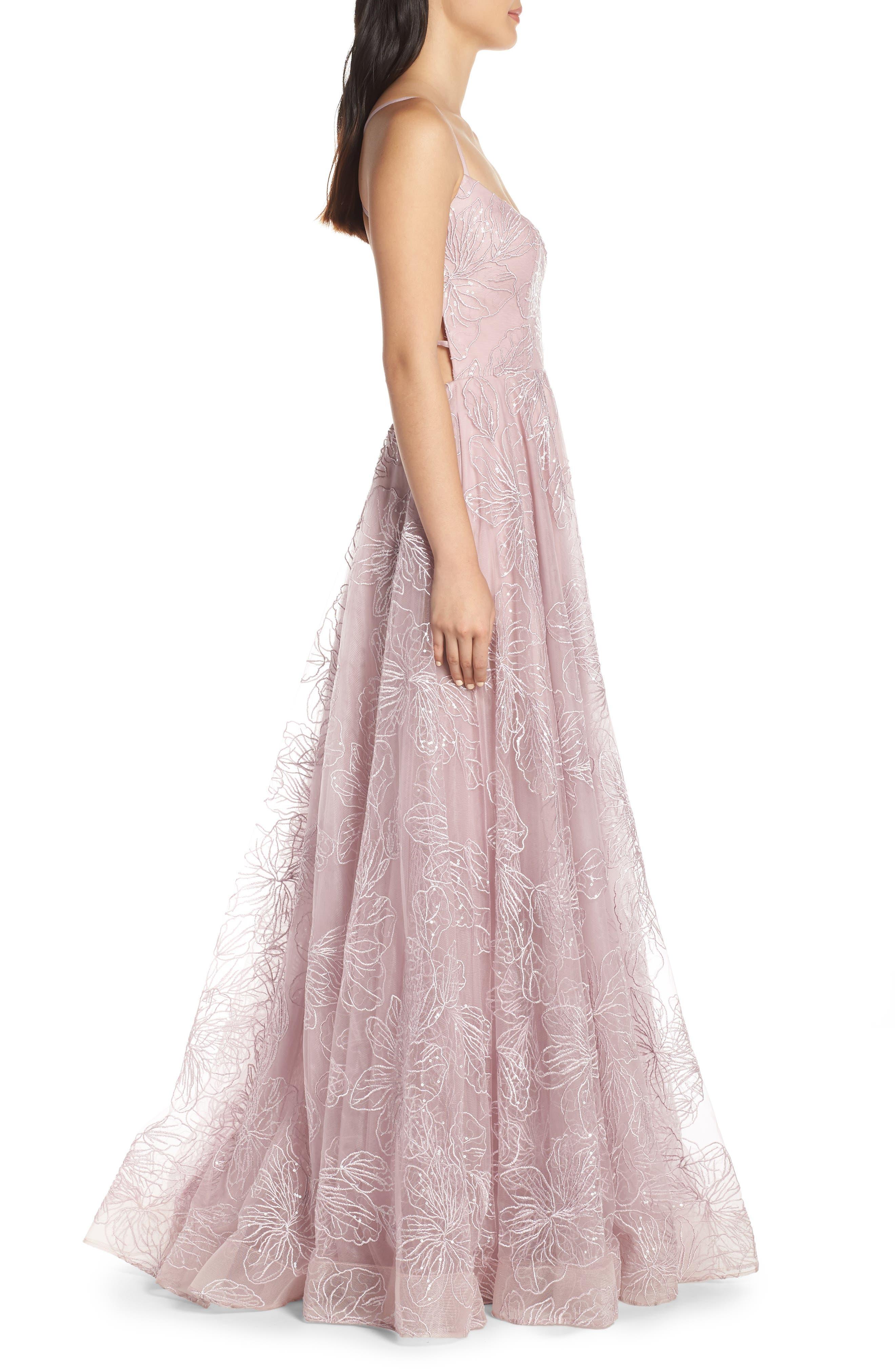 LA FEMME, Metallic Floral Embellished Evening Dress, Alternate thumbnail 4, color, MAUVE