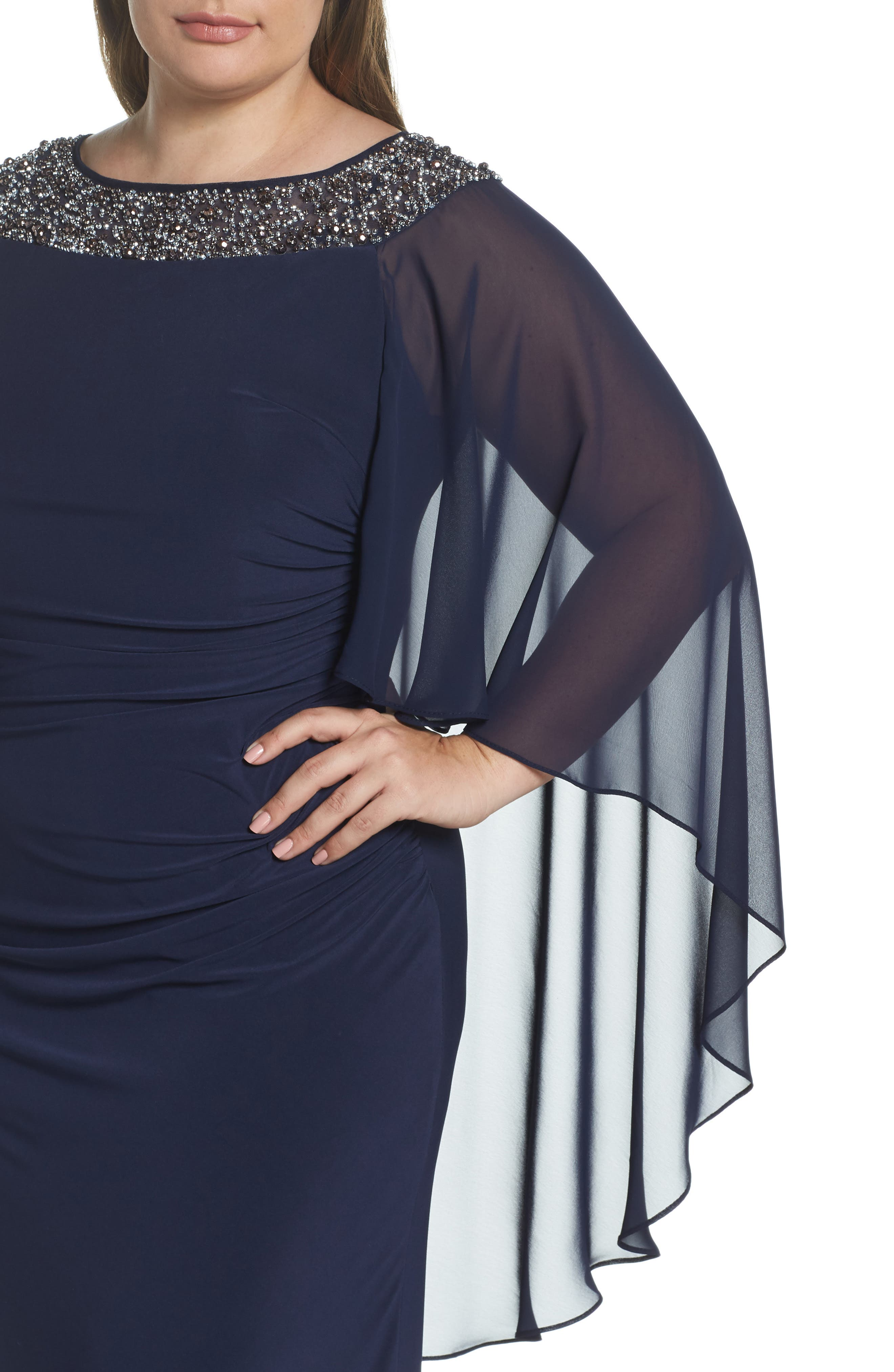 XSCAPE, Chiffon Cape Sleeve Beaded Neckline Gown, Alternate thumbnail 5, color, NAVY/ SILVER