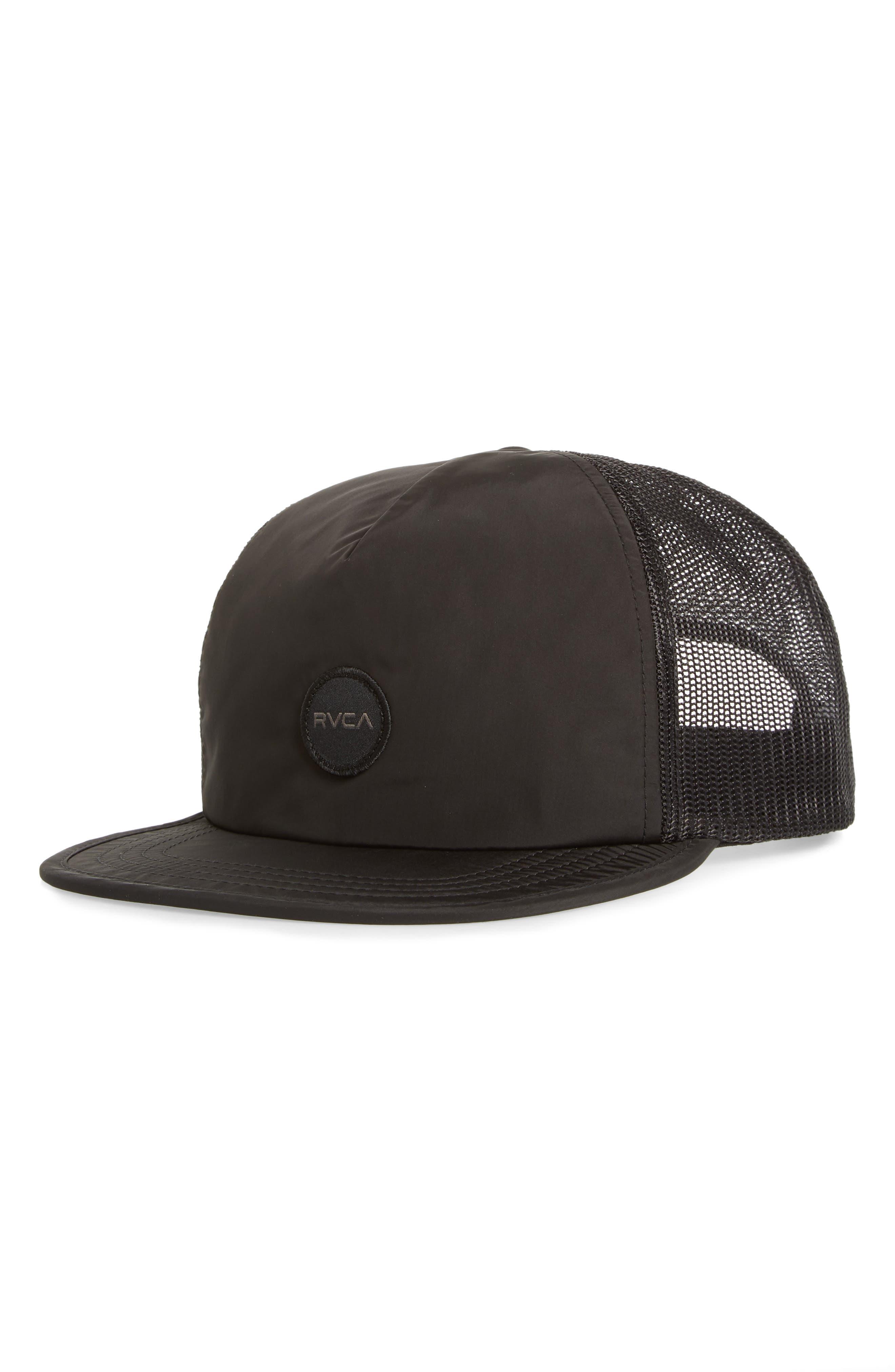 RVCA Travel Trucker Hat, Main, color, BLACK