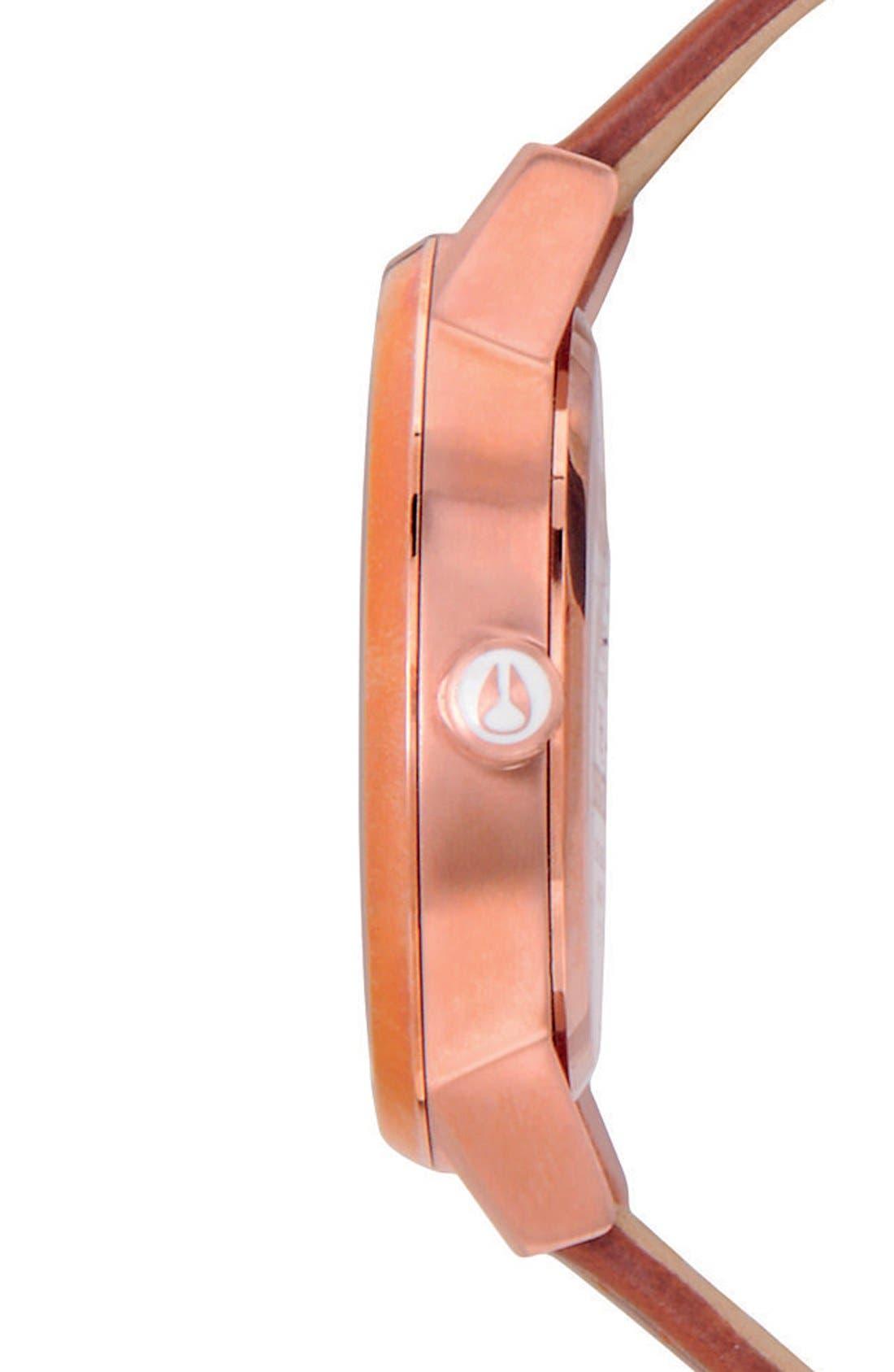 NIXON, 'The Kensington' Leather Strap Watch, 37mm, Alternate thumbnail 3, color, BROWN/ ROSE GOLD/ WHITE