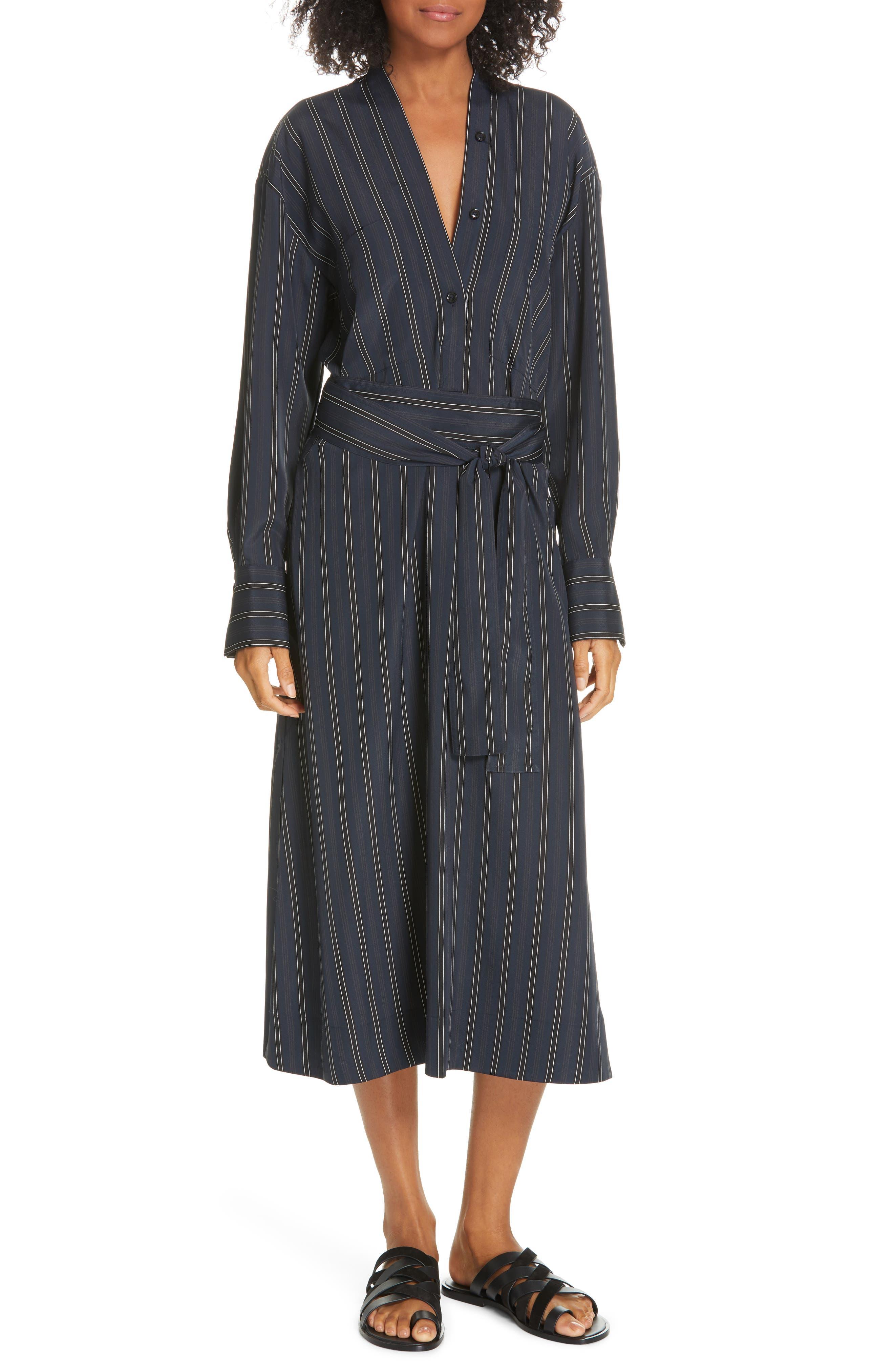 VINCE Stripe Belted Midi Shirtdress, Main, color, MARINE