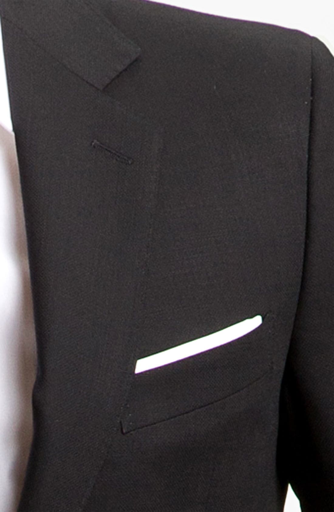 CANALI, Classic Fit Solid Wool Blazer, Alternate thumbnail 3, color, BLACK