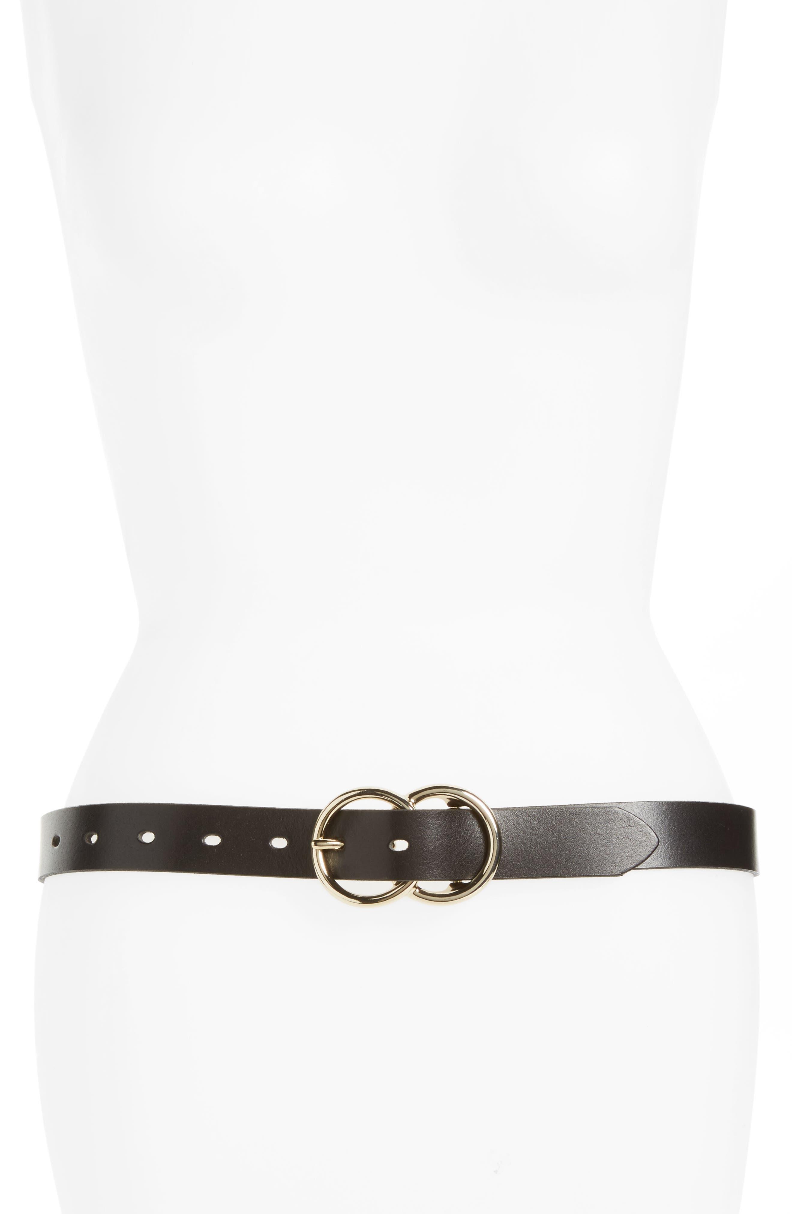 HALOGEN<SUP>®</SUP>, Double Ring Leather Belt, Main thumbnail 1, color, BLACK