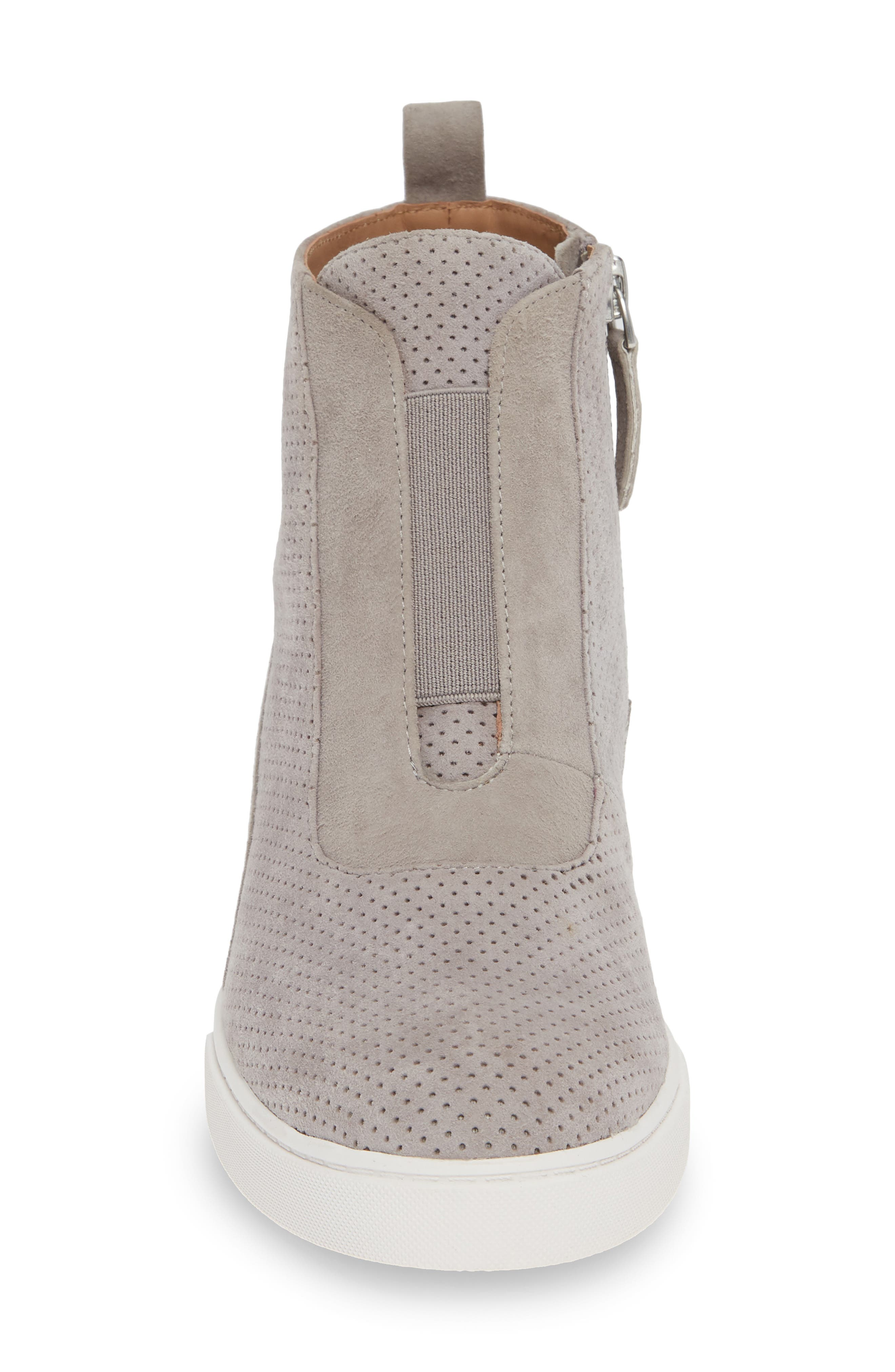 LINEA PAOLO, Anna Wedge Sneaker, Alternate thumbnail 4, color, ROCK PER SUEDE