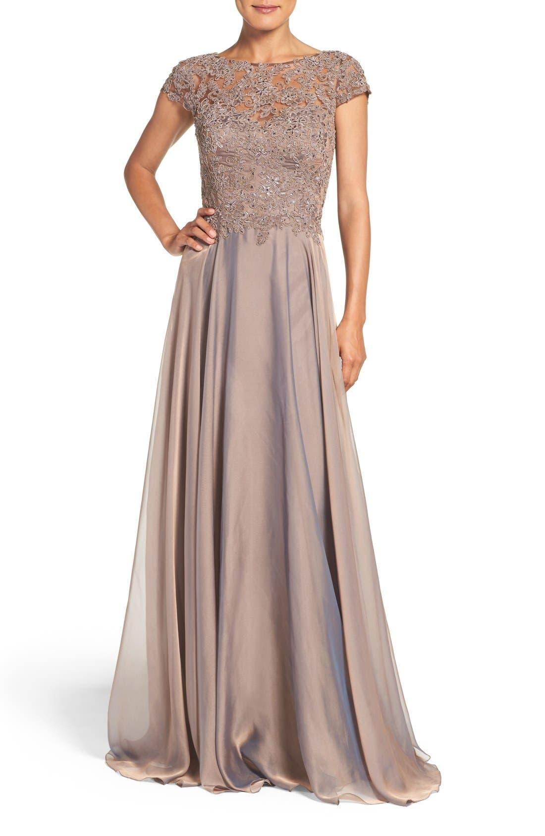 La Femme Embellished Lace & Satin Ballgown, Brown