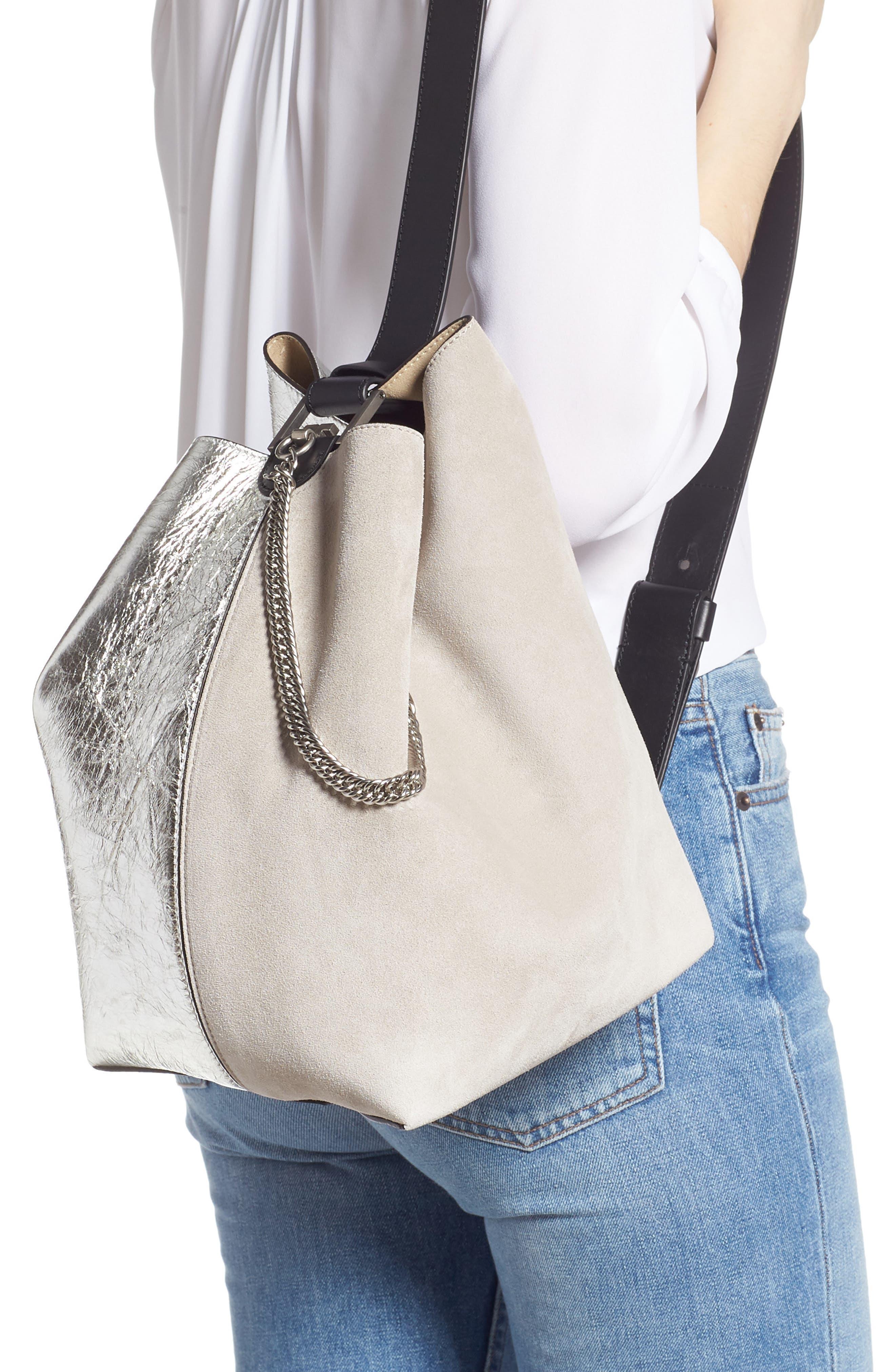GIVENCHY, Medium GV Calfskin Suede Bucket Bag, Alternate thumbnail 3, color, NATURAL/ SILVER