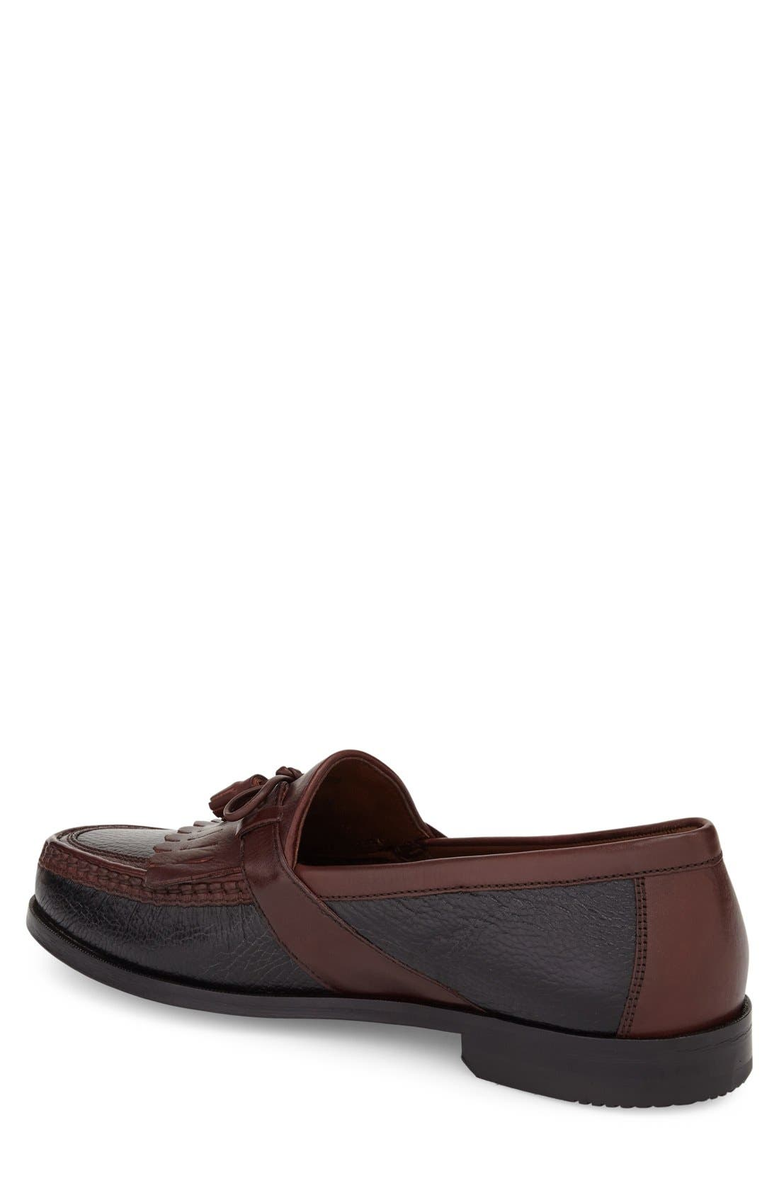 JOHNSTON & MURPHY, 'Aragon II' Loafer, Alternate thumbnail 2, color, BLACK/ BROWN LEATHER