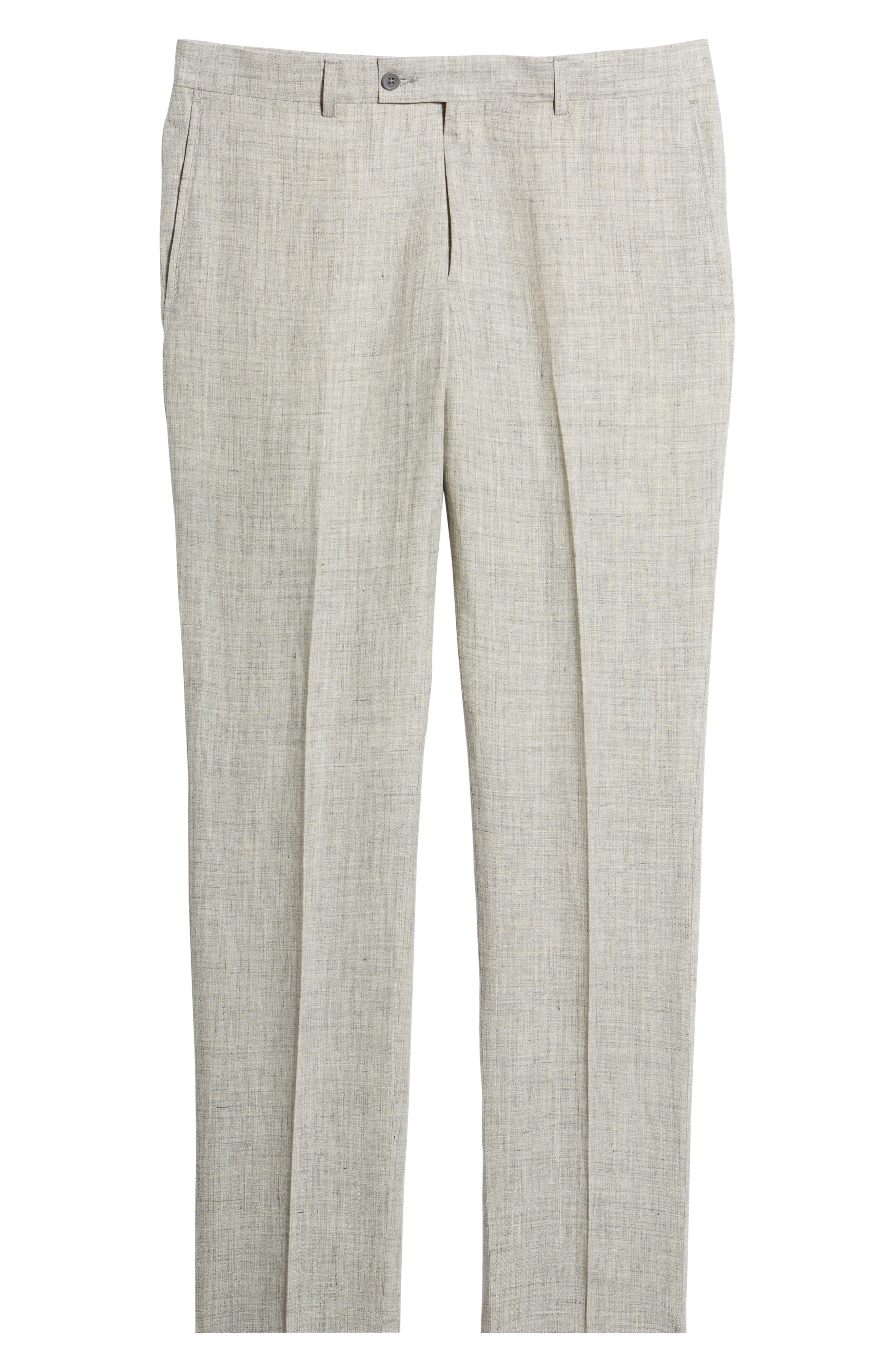 NORDSTROM MEN'S SHOP, Flat Front Mélange Linen Trousers, Alternate thumbnail 7, color, LIGHT GREY