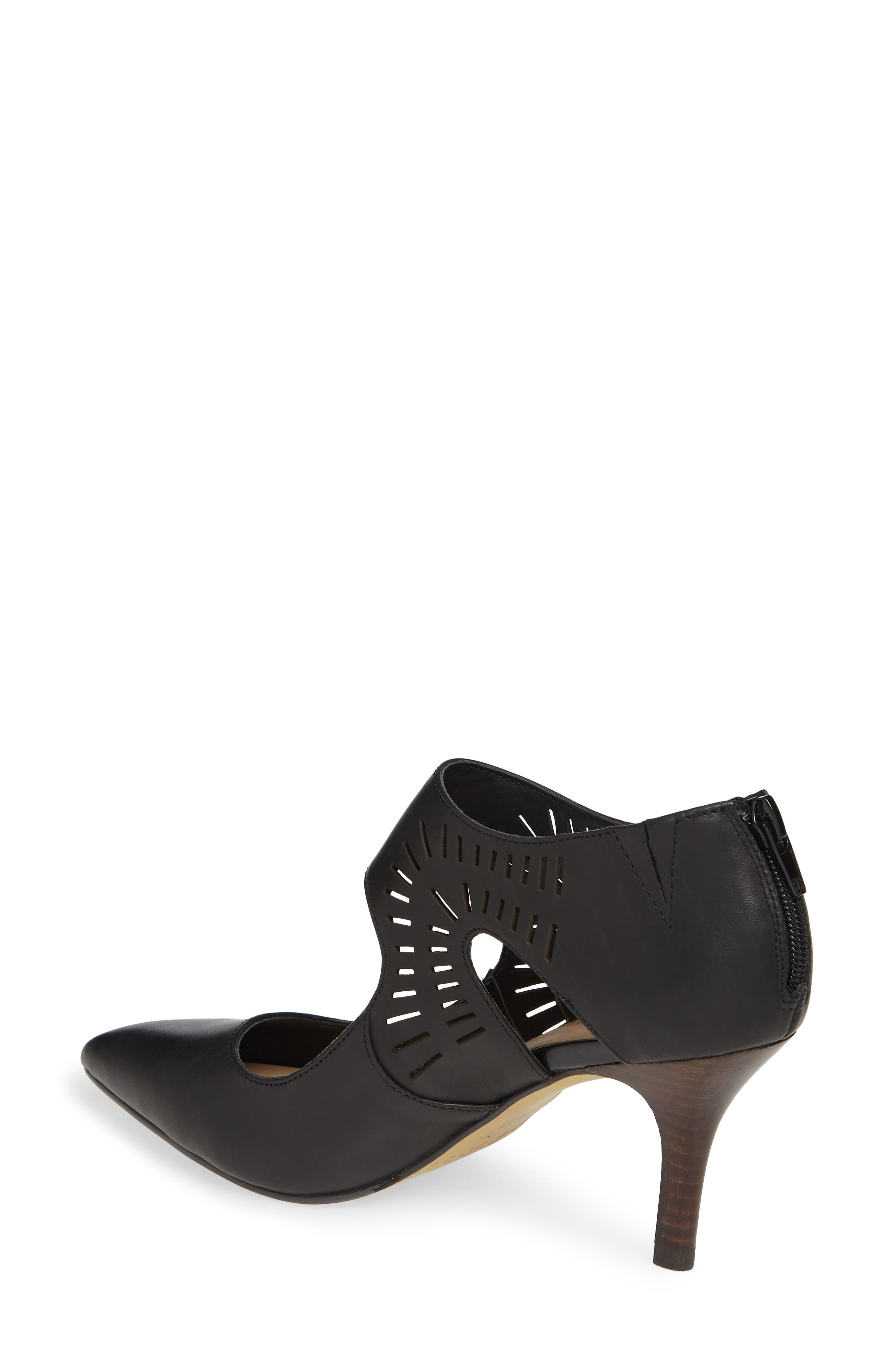 BELLA VITA, Dani Perforated Pump, Alternate thumbnail 2, color, BLACK LEATHER