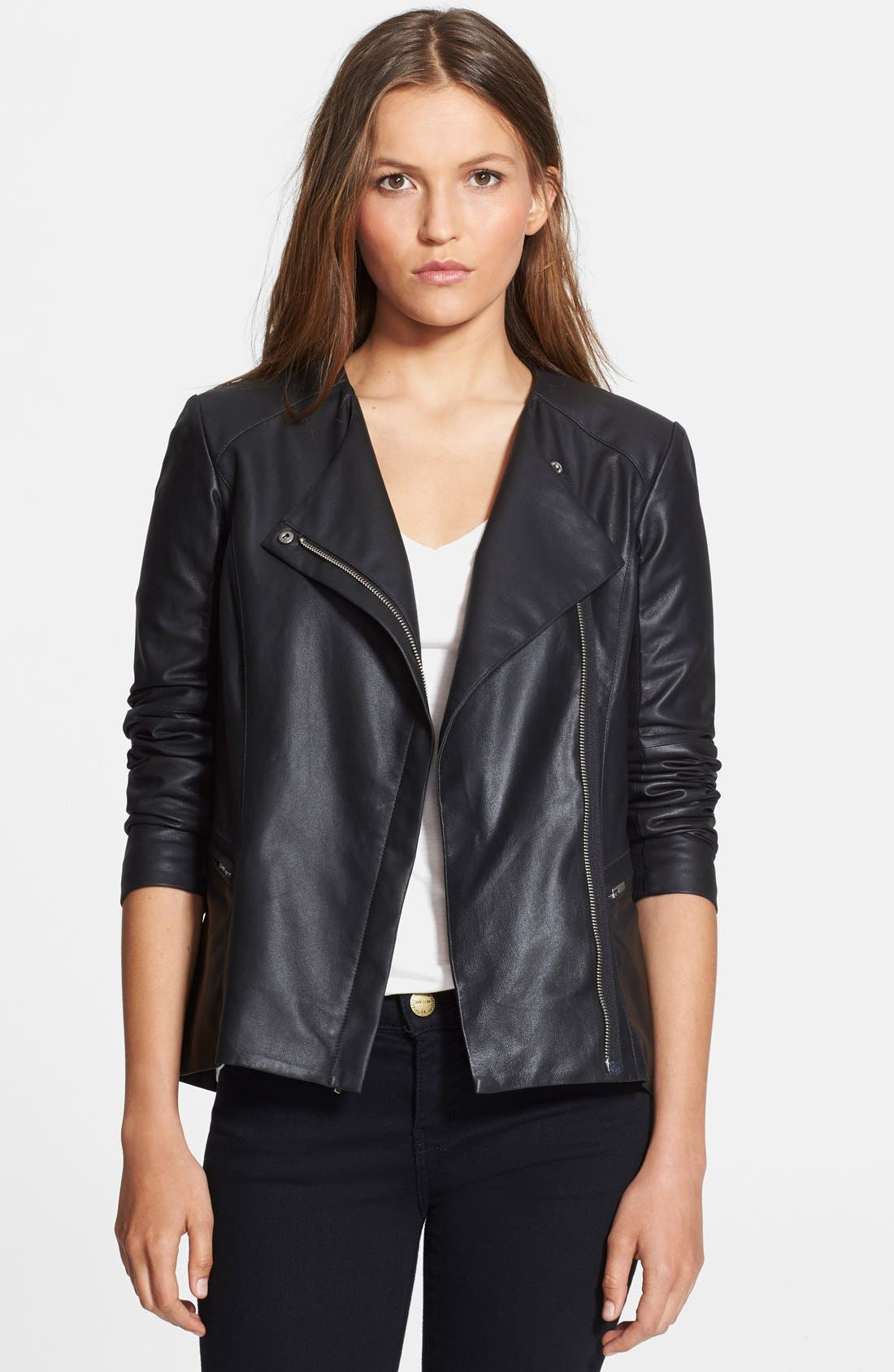 VEDA, 'Aires' Asymmetrical Zip Leather Jacket, Main thumbnail 1, color, 001