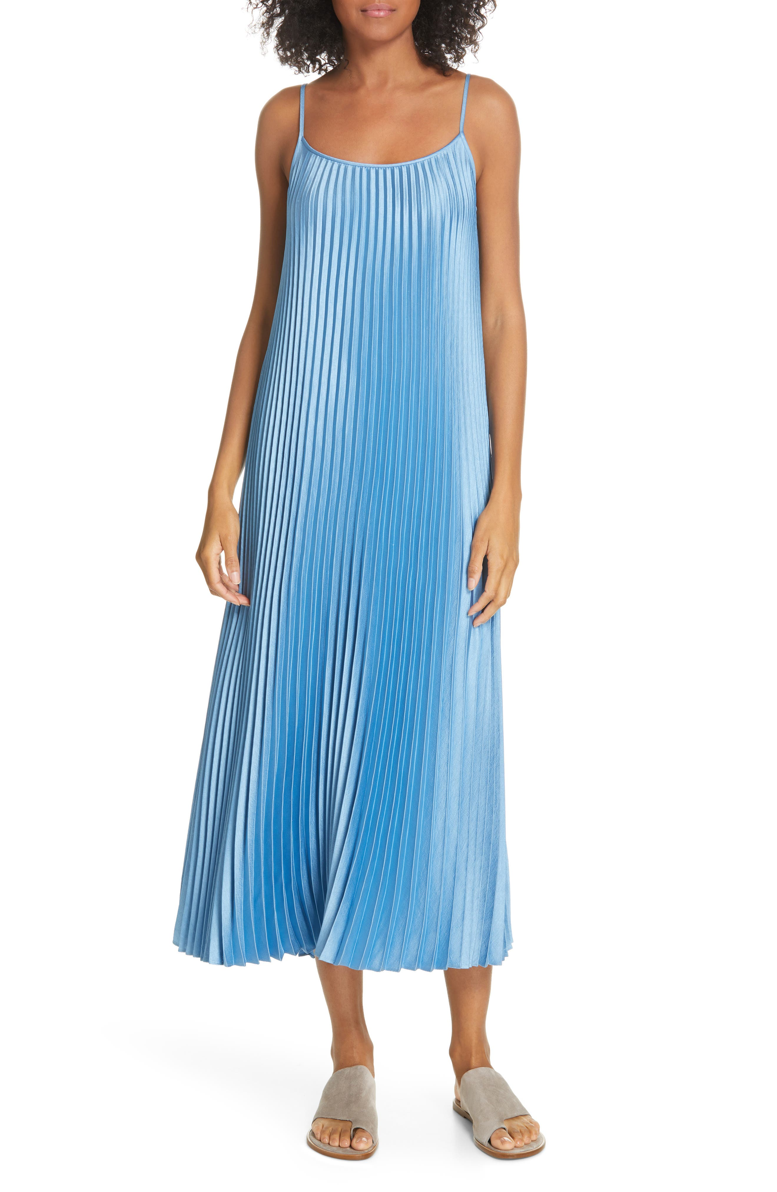 VINCE, Pleated Satin Slipdress, Alternate thumbnail 6, color, BLUE PUMICE