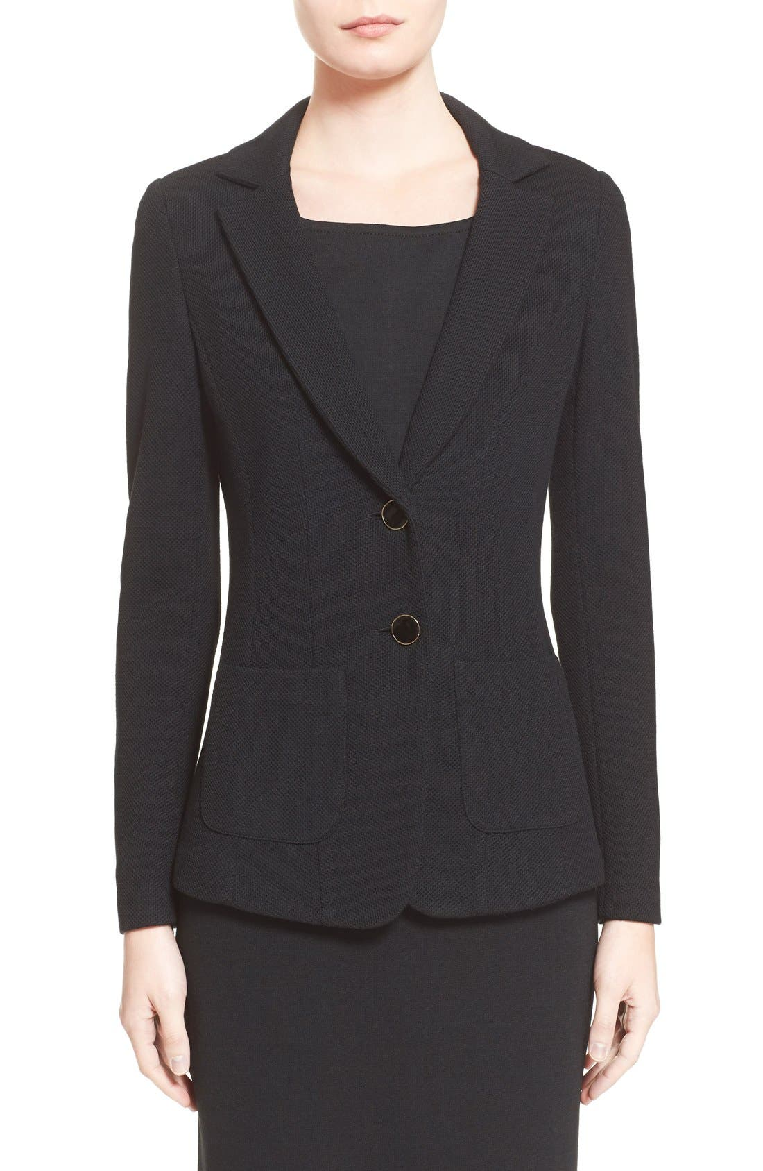 ST. JOHN COLLECTION Milano Piqué Knit Jacket, Main, color, CAVIAR