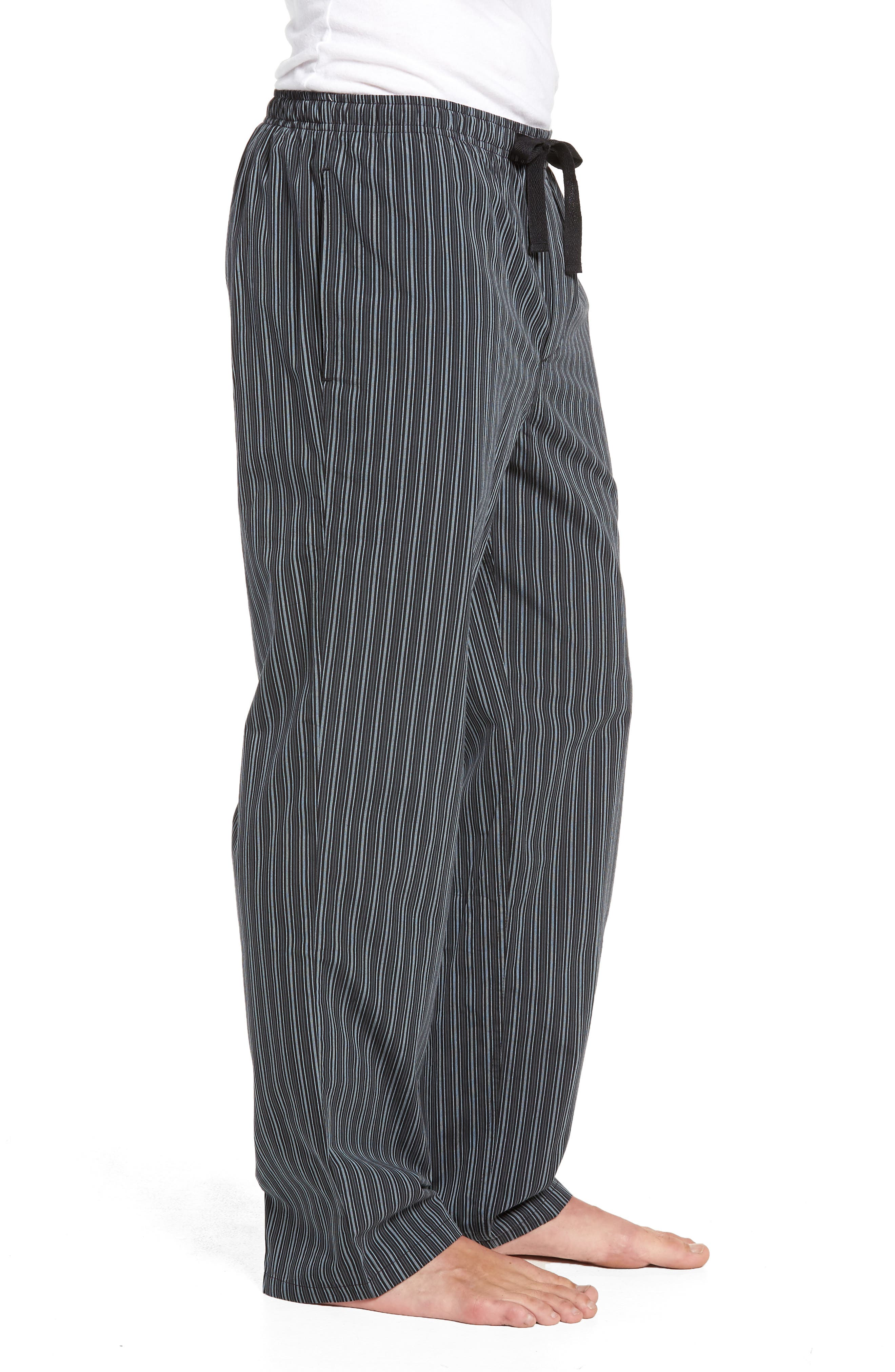 NORDSTROM MEN'S SHOP, Poplin Pajama Pants, Alternate thumbnail 3, color, GREY- BLACK STRIPE