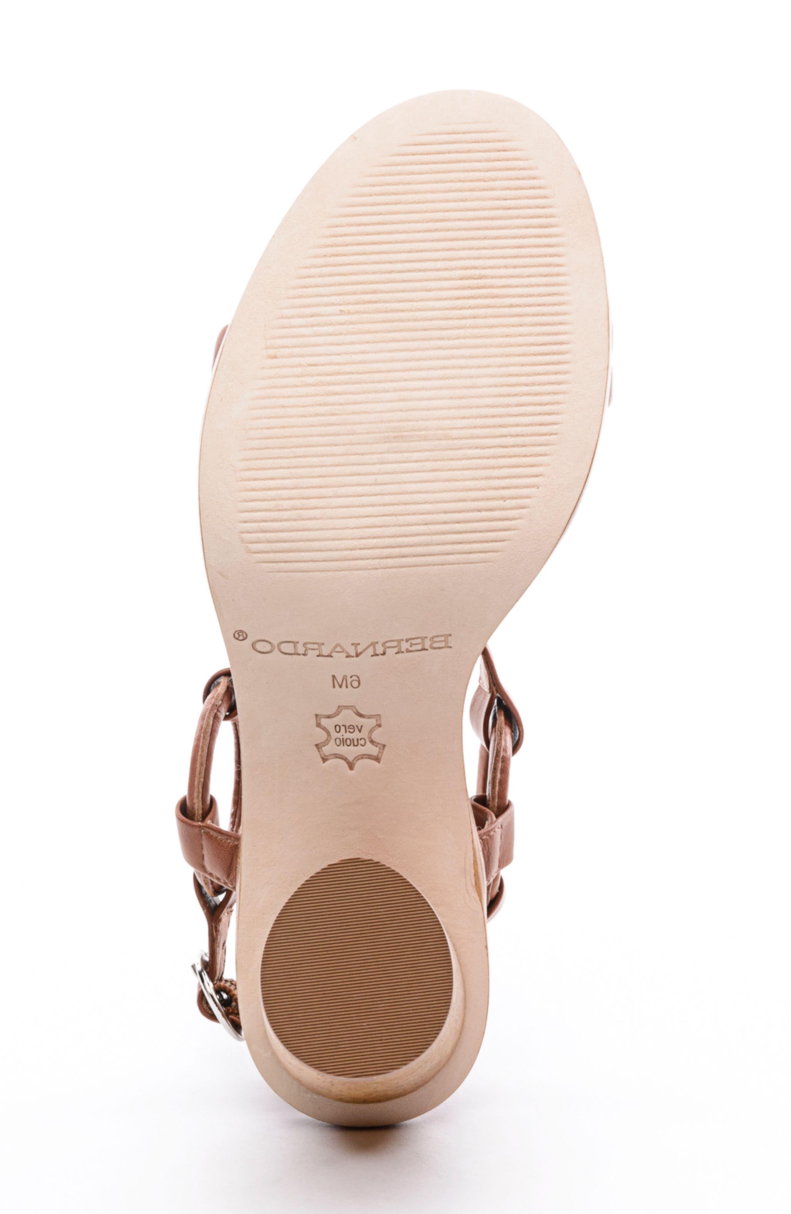 BERNARDO, Harlow Ankle Strap Sandal, Alternate thumbnail 6, color, LUGGAGE LEATHER
