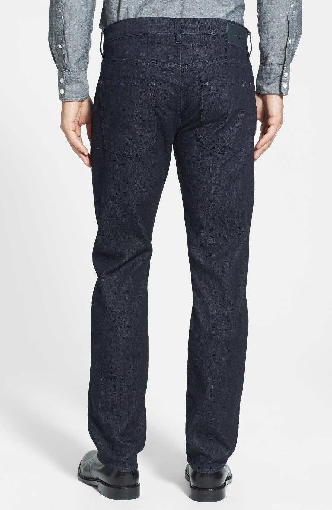7 FOR ALL MANKIND<SUP>®</SUP>, The Straight - Luxe Performance Slim Straight Leg Jeans, Alternate thumbnail 4, color, DEEP WELL