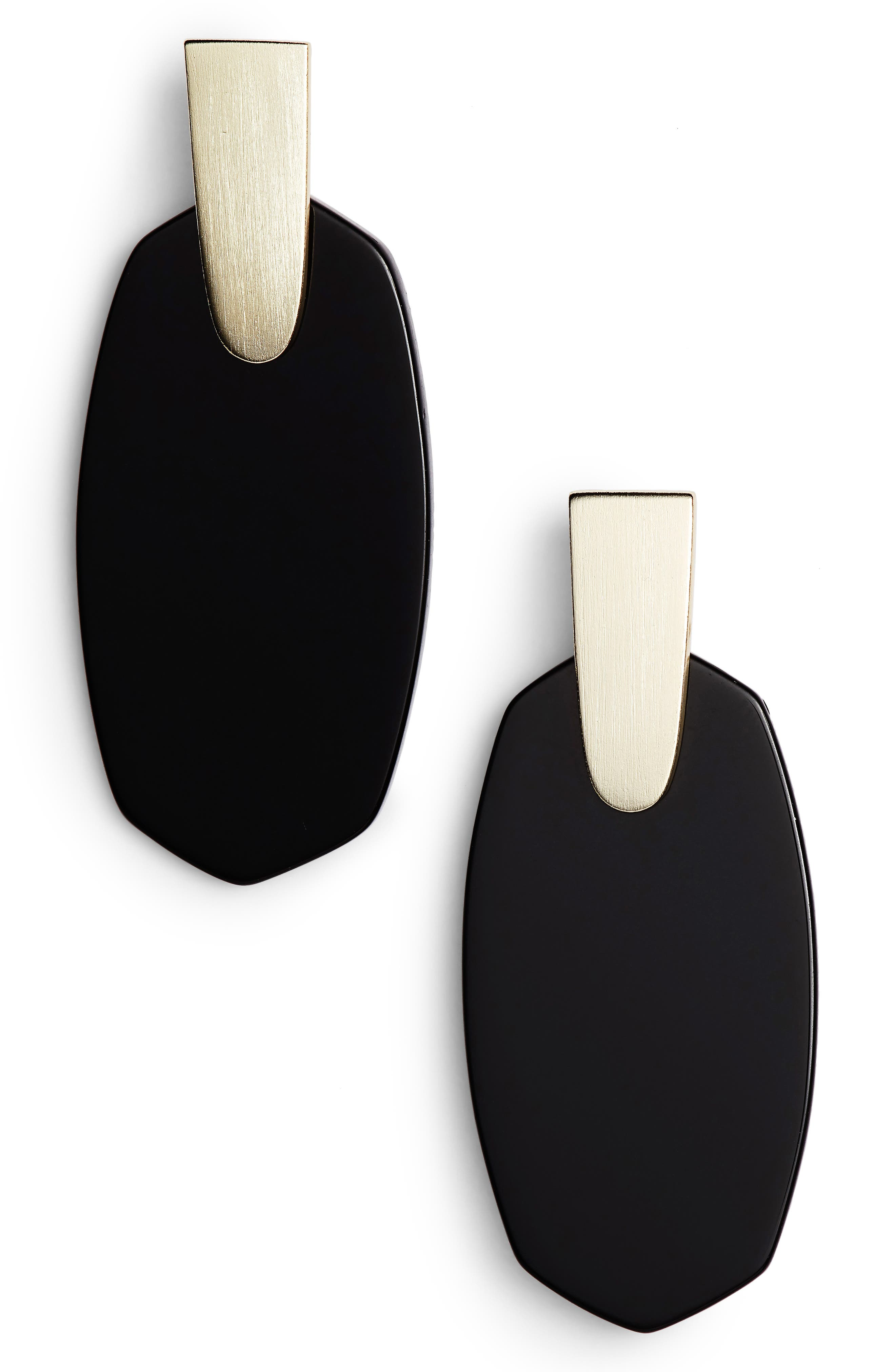 KENDRA SCOTT, Aragon Drop Earrings, Main thumbnail 1, color, BLACK/ GOLD