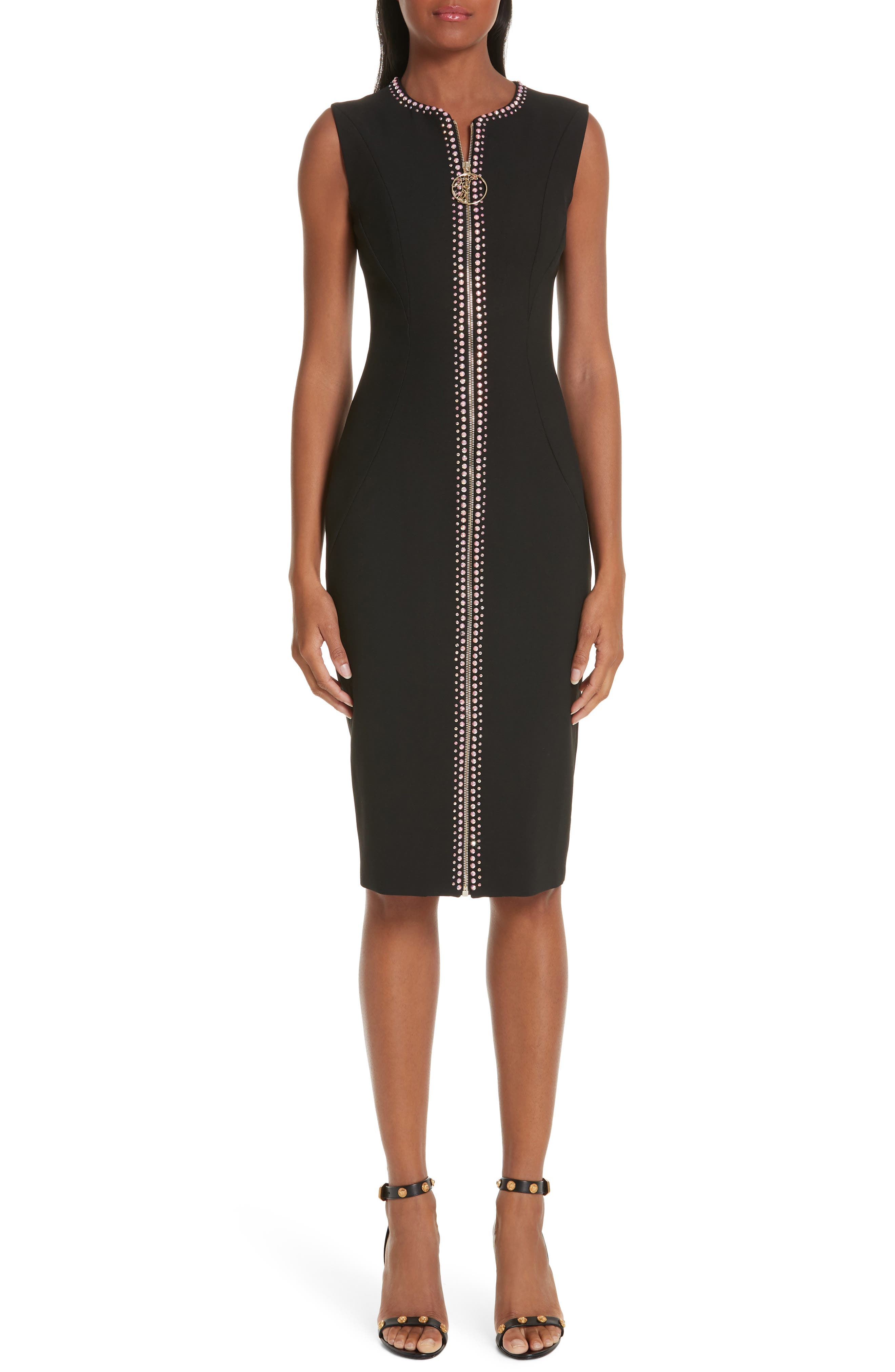VERSACE COLLECTION, Crystal Embellished Zip Front Dress, Main thumbnail 1, color, BLACK