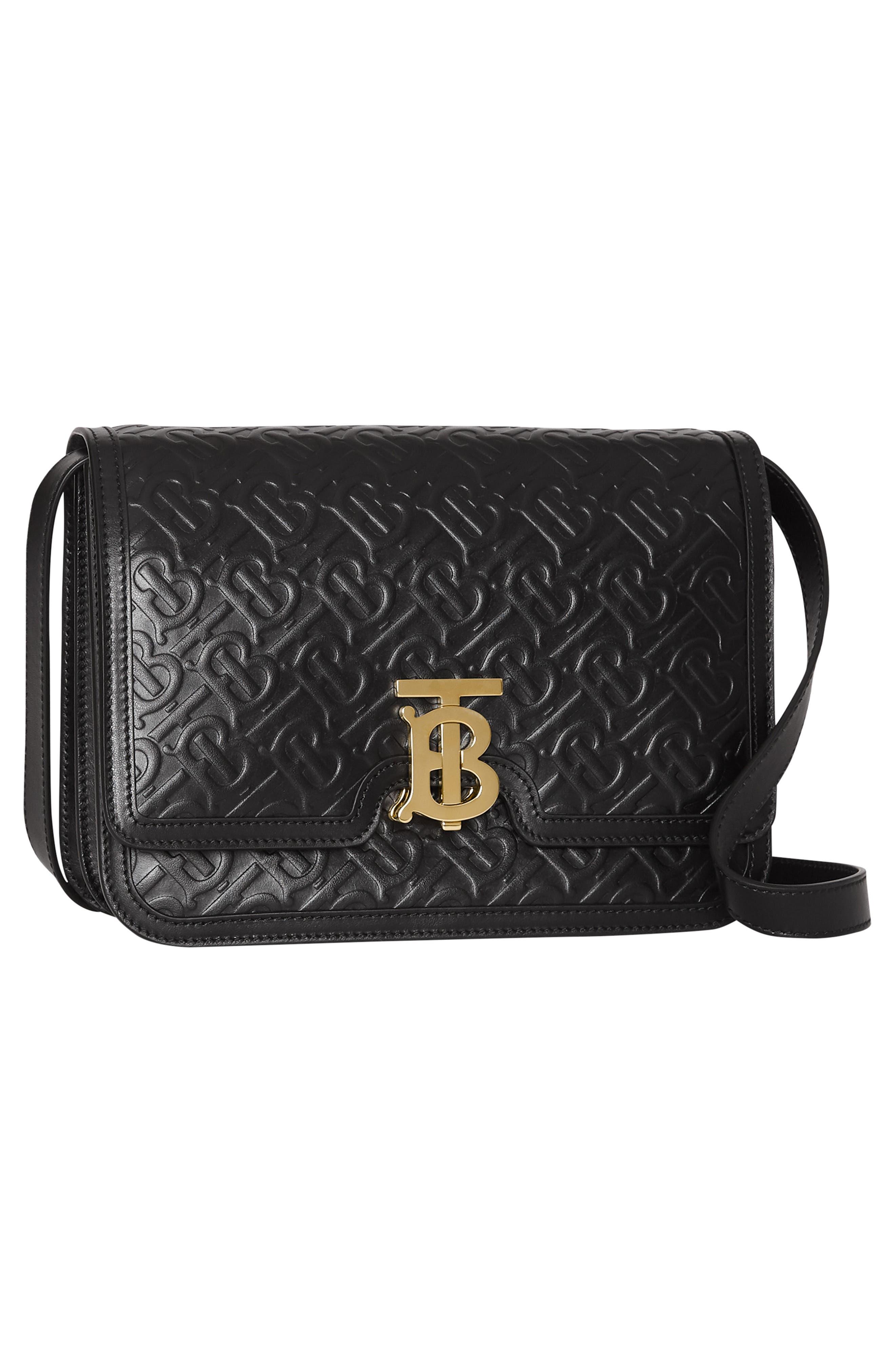 BURBERRY, Medium TB Monogram Leather Bag, Alternate thumbnail 9, color, BLACK