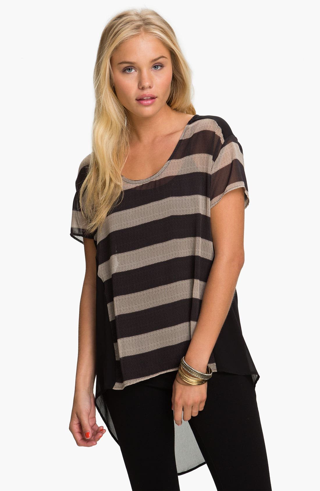 ---, Lush Sheer High/Low Tee, Main thumbnail 1, color, 001