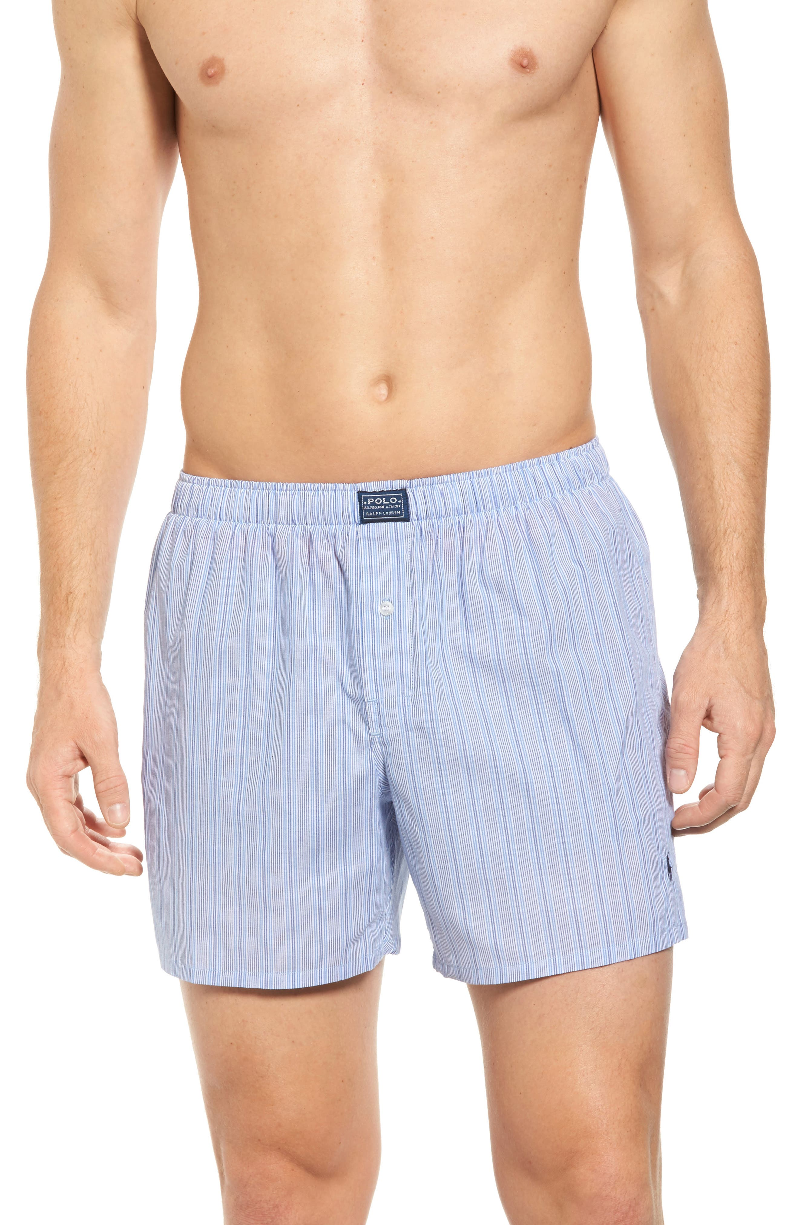 POLO RALPH LAUREN Woven Boxer Shorts, Main, color, ANDREW BLUE