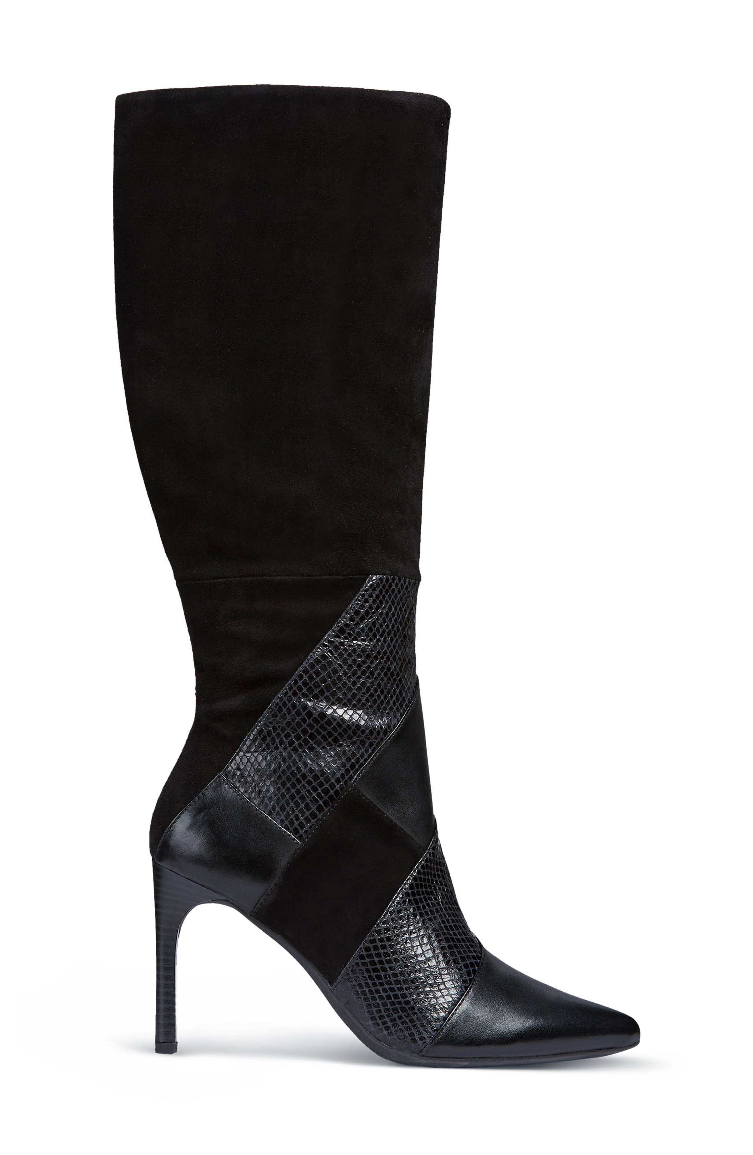 GEOX, Faviola Knee High Boot, Alternate thumbnail 3, color, BLACK LEATHER