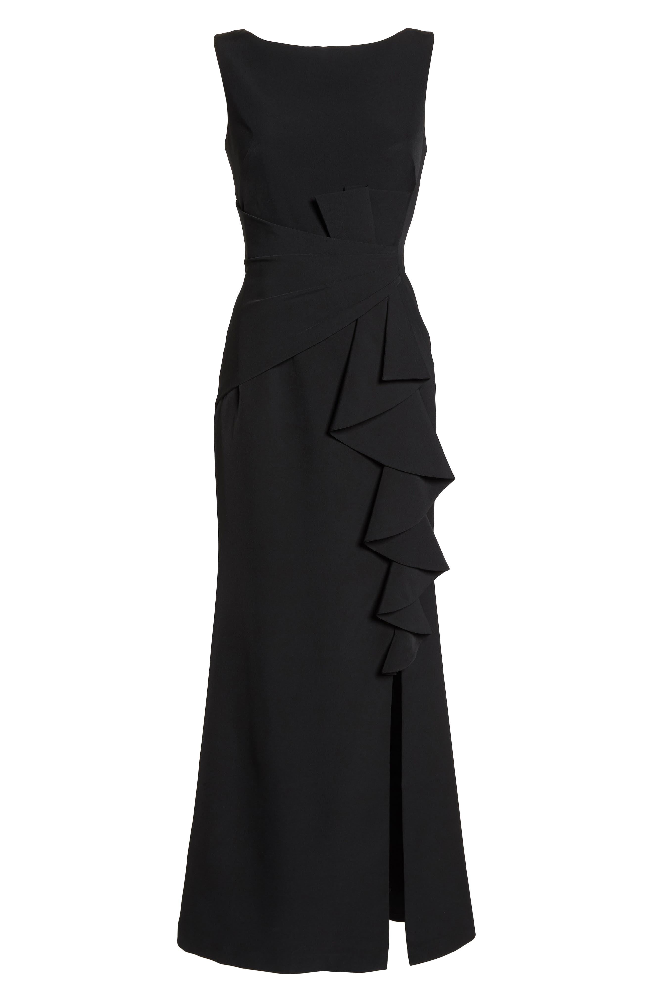 ELIZA J, Ruffle Front Gown, Alternate thumbnail 7, color, BLACK