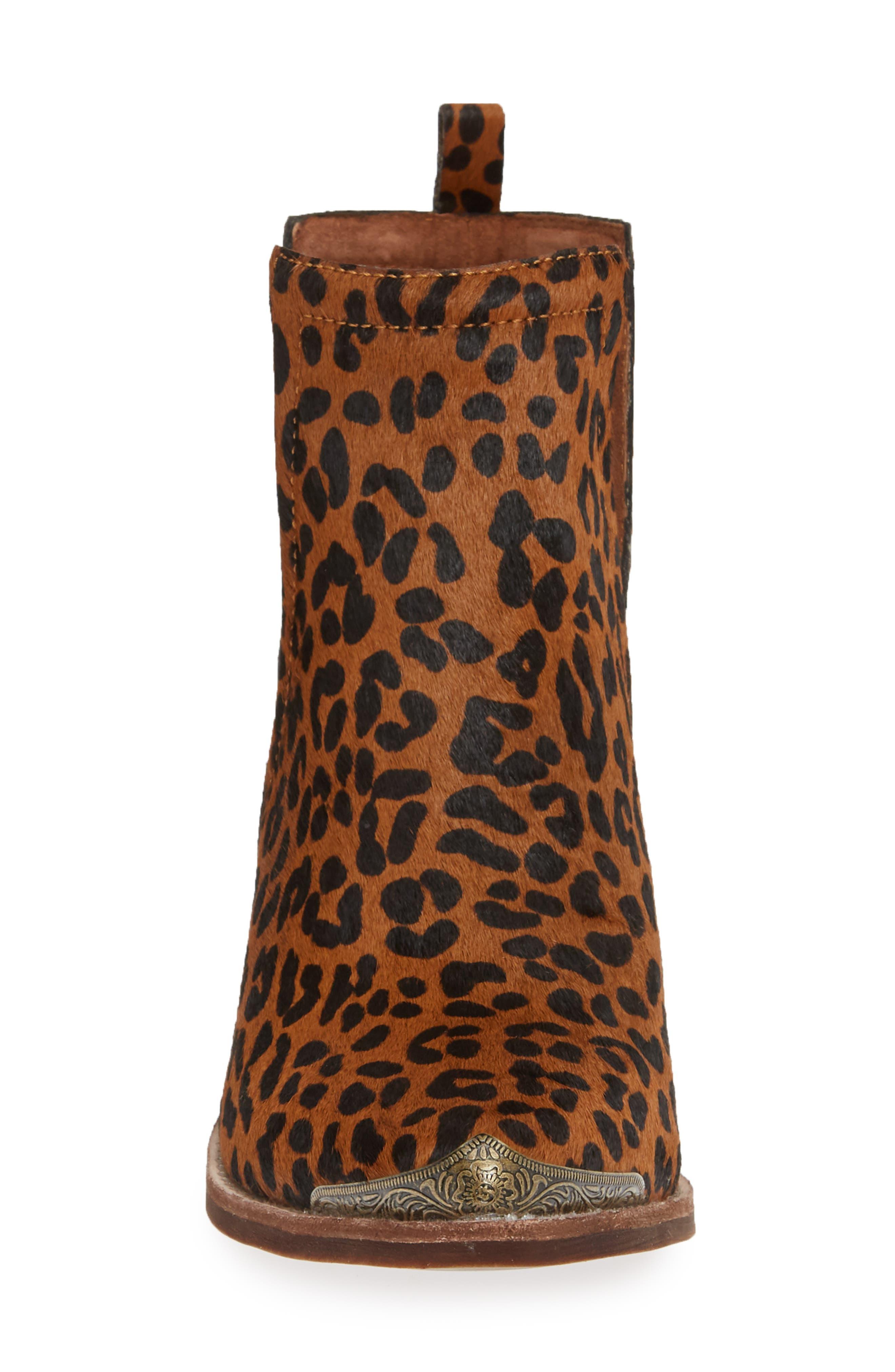 JEFFREY CAMPBELL, Cromwell Cutout Genuine Calf Hair Western Boot, Alternate thumbnail 4, color, BROWN CHEETAH CALF HAIR