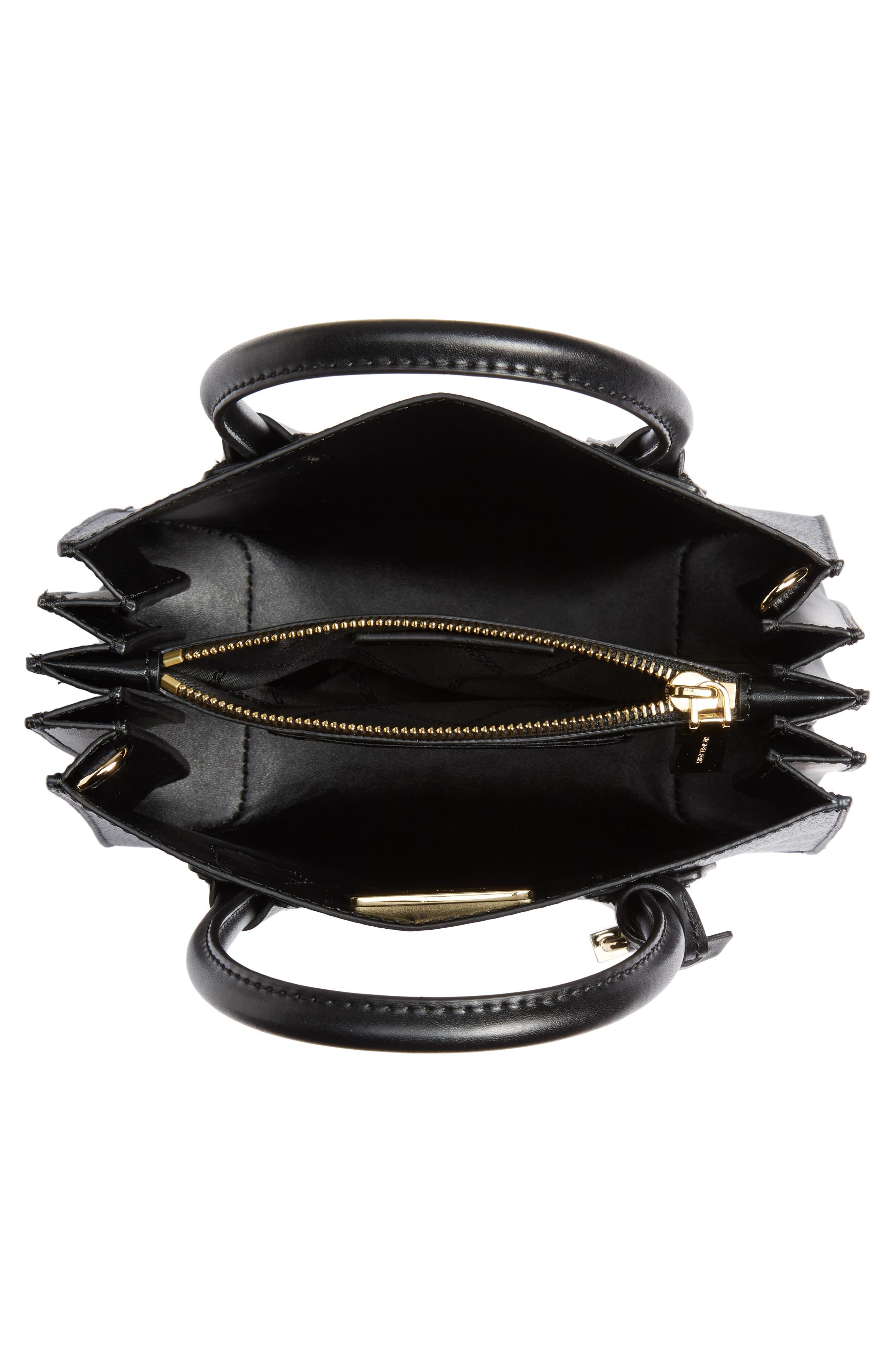 MICHAEL MICHAEL KORS, Medium Mercer Convertible Leather Tote, Alternate thumbnail 5, color, BLACK