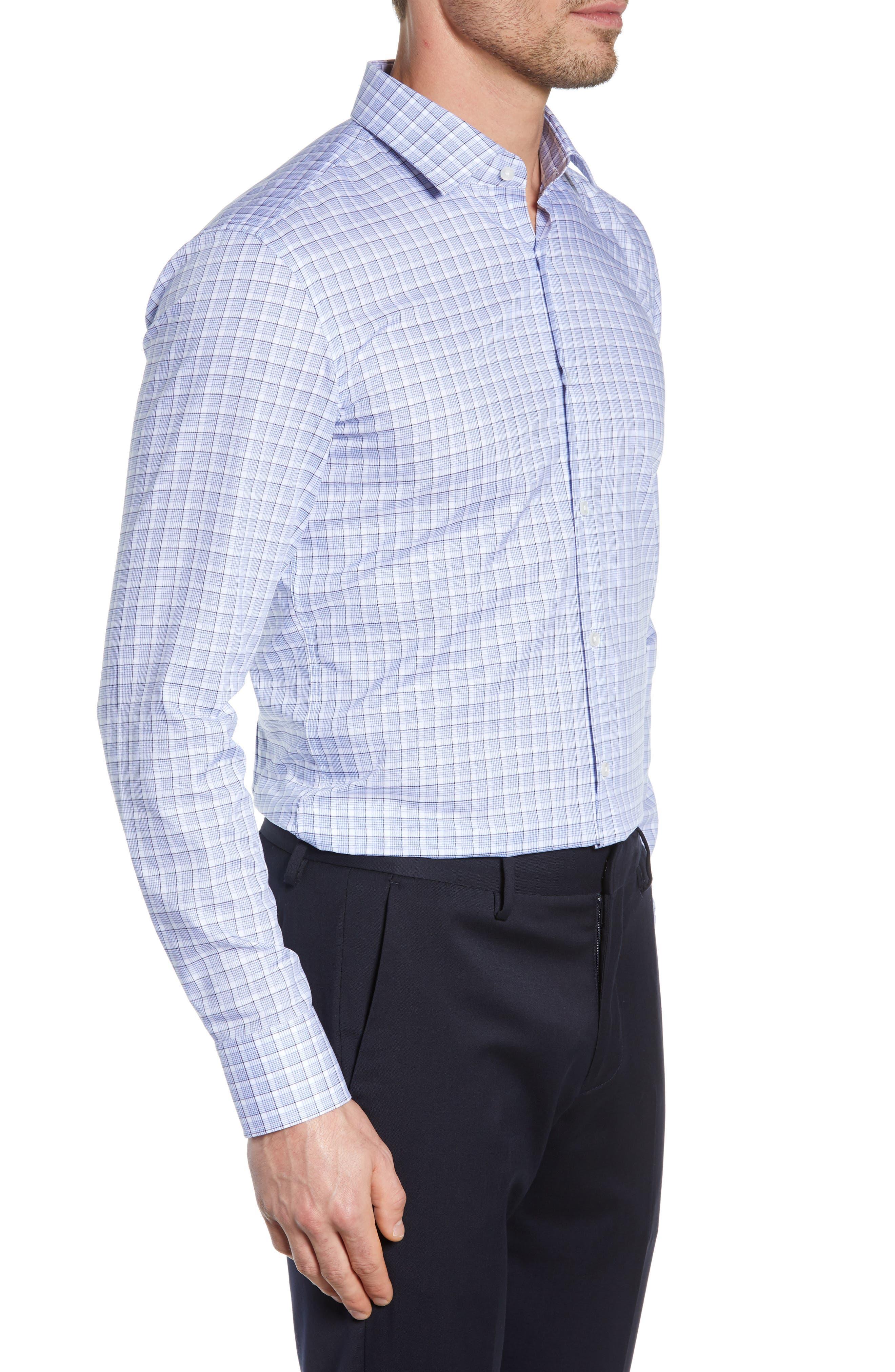 BOSS, Jenno Slim Fit Plaid Dress Shirt, Alternate thumbnail 4, color, BLUE