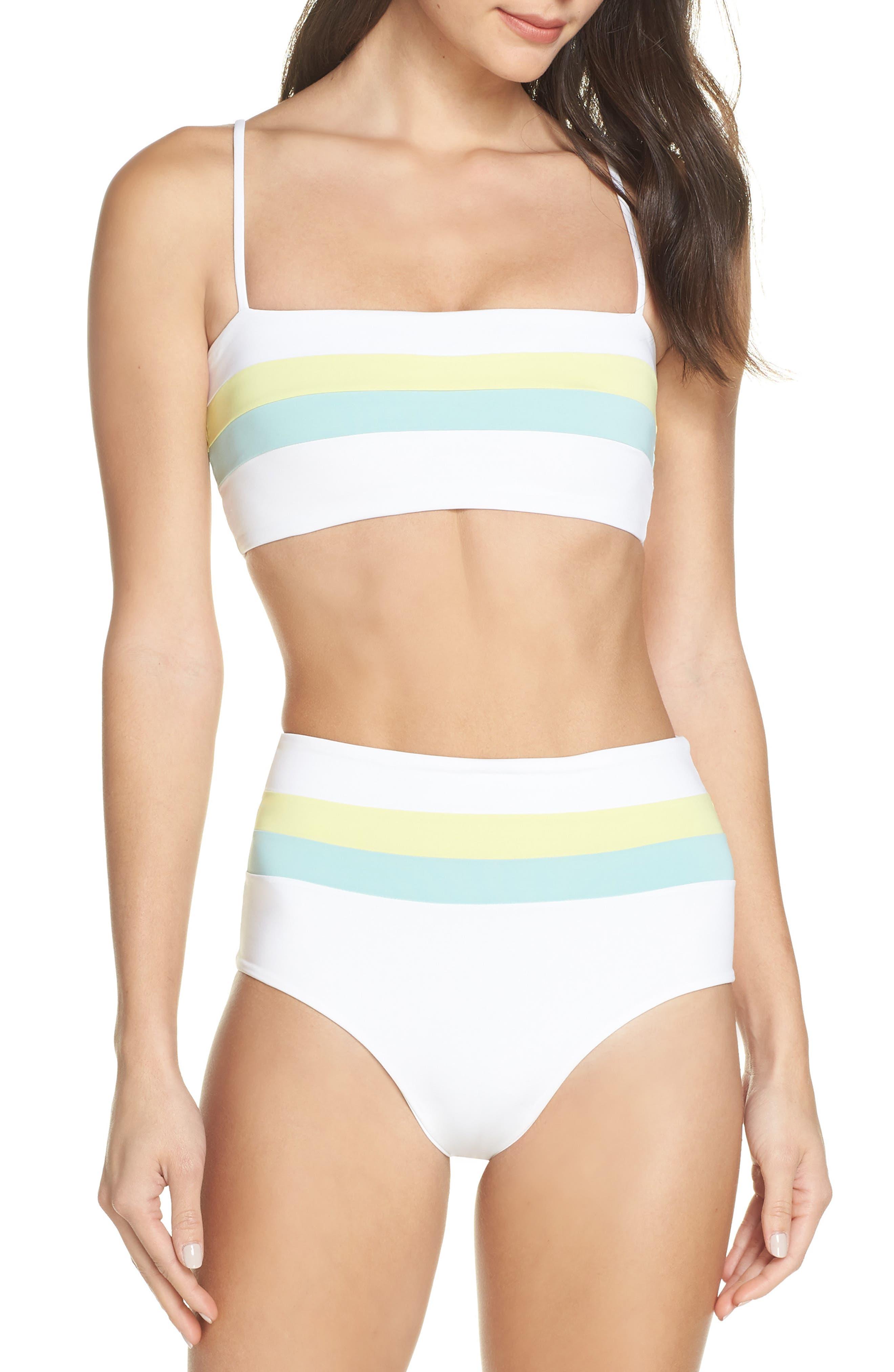 L SPACE, Portia Reversible High Waist Bikini Bottoms, Alternate thumbnail 8, color, WHITE/ LIGHT TURQ/ LEMONADE
