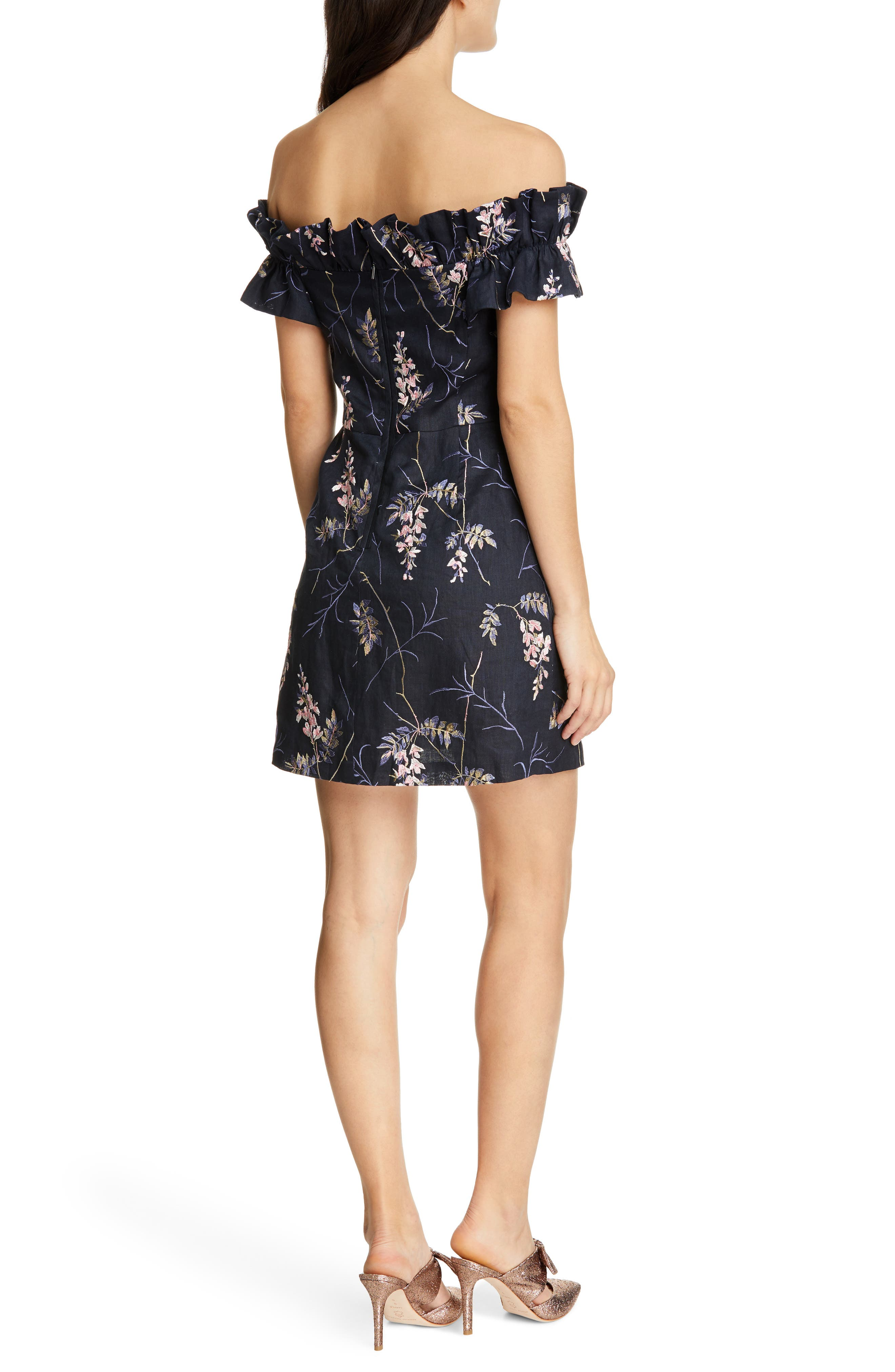 REBECCA TAYLOR, Ivie Off the Shoulder Embroidered Detail Linen Dress, Alternate thumbnail 2, color, NAVY COMBO