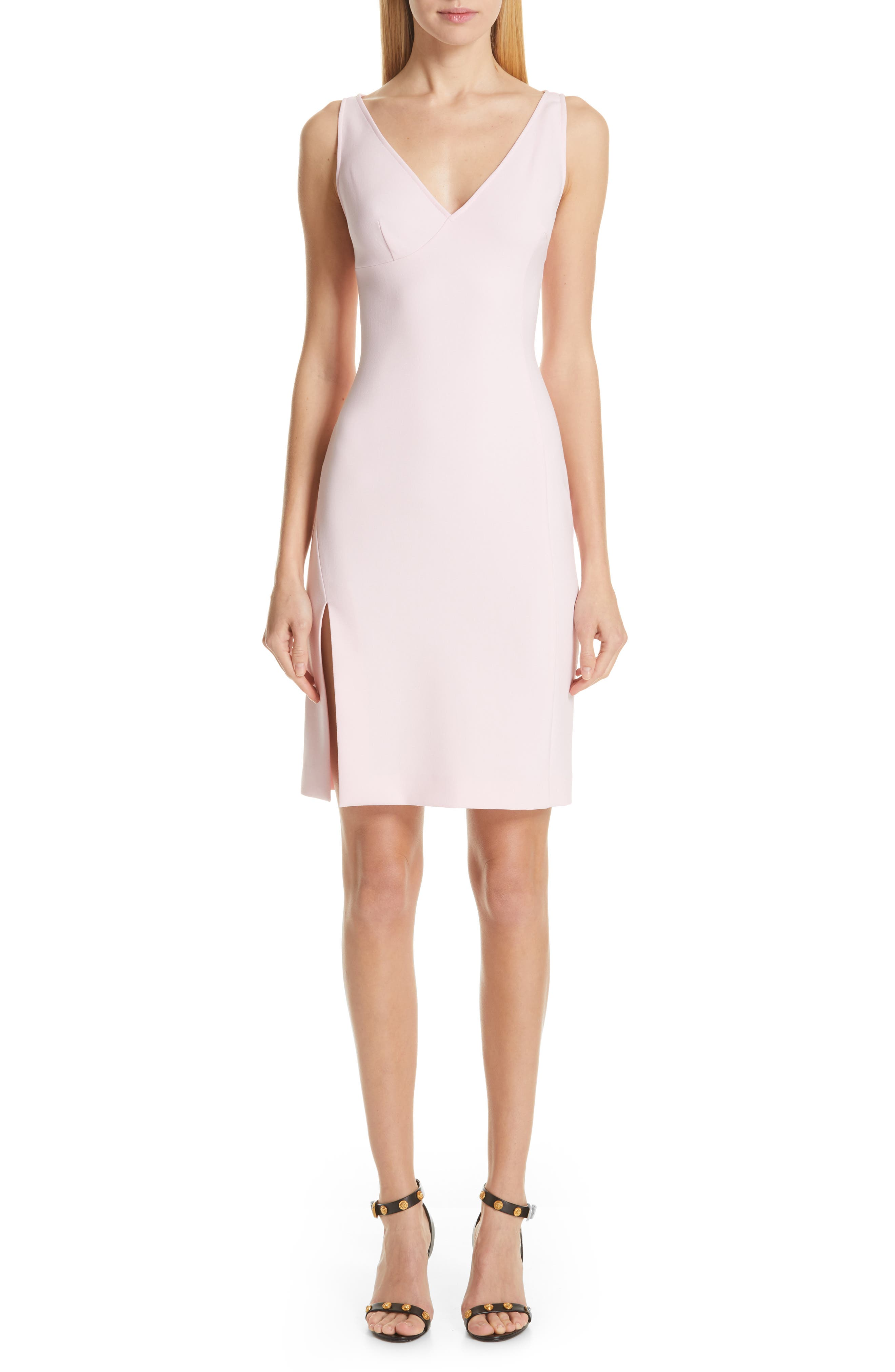 VERSACE COLLECTION, Stretch Cady Sheath Dress, Main thumbnail 1, color, PASTEL ROSE