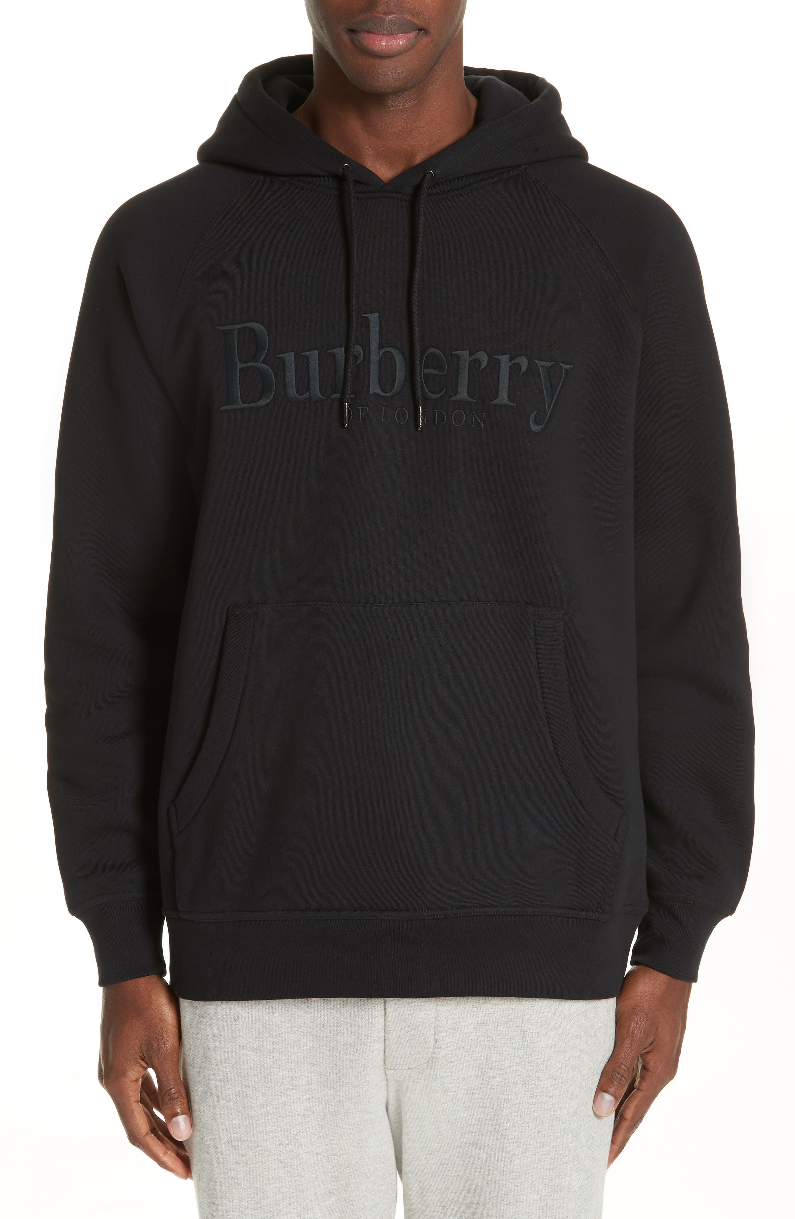 BURBERRY, Clarke Logo Hoodie, Main thumbnail 1, color, BLACK