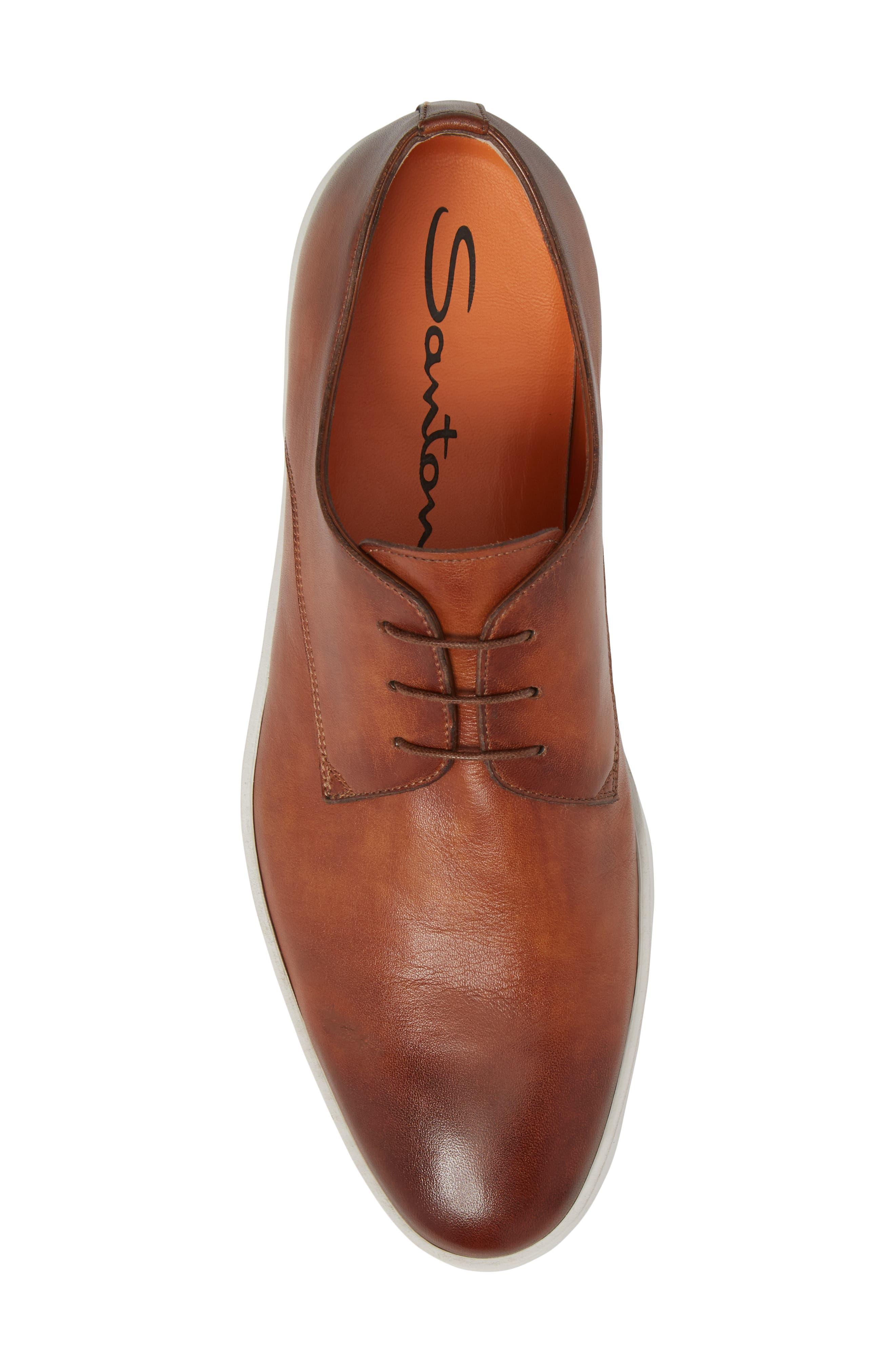 SANTONI, Doyle Plain Toe Derby Sneaker, Alternate thumbnail 5, color, TAN
