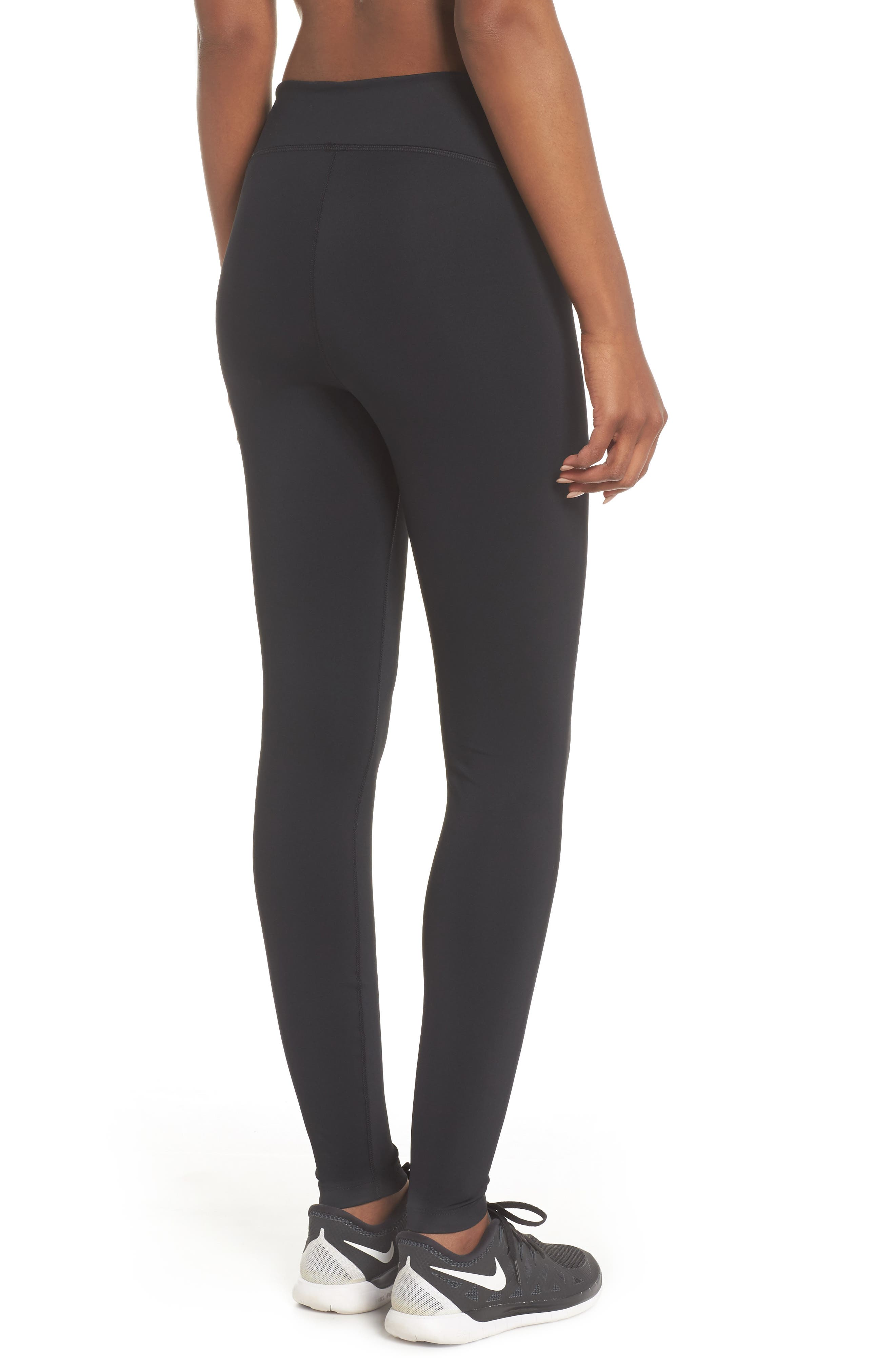 NIKE, Power Tights, Alternate thumbnail 2, color, BLACK/ CLEAR