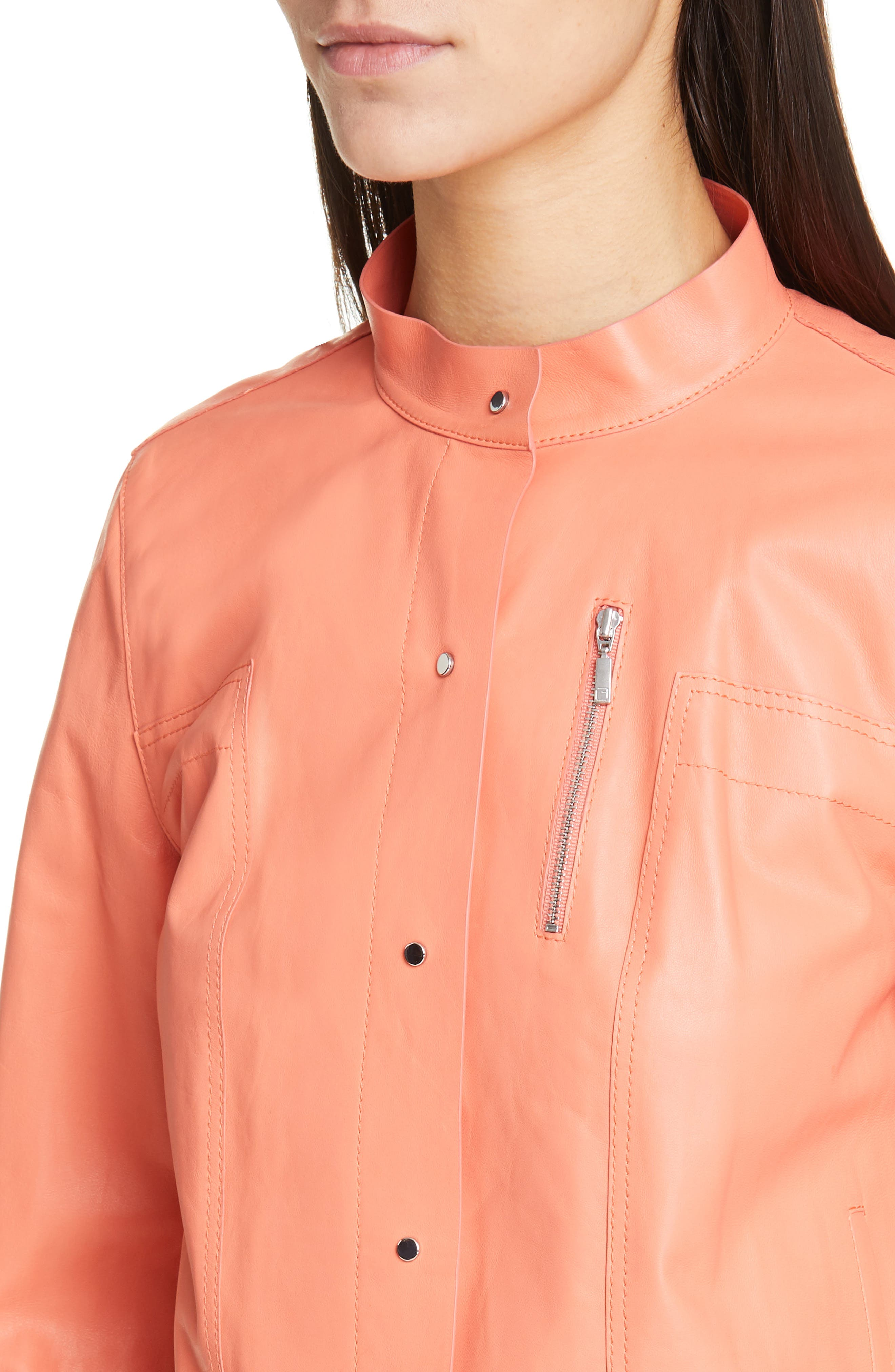 LAFAYETTE 148 NEW YORK, Galicia Leather Jacket, Alternate thumbnail 4, color, PEACH ROSE