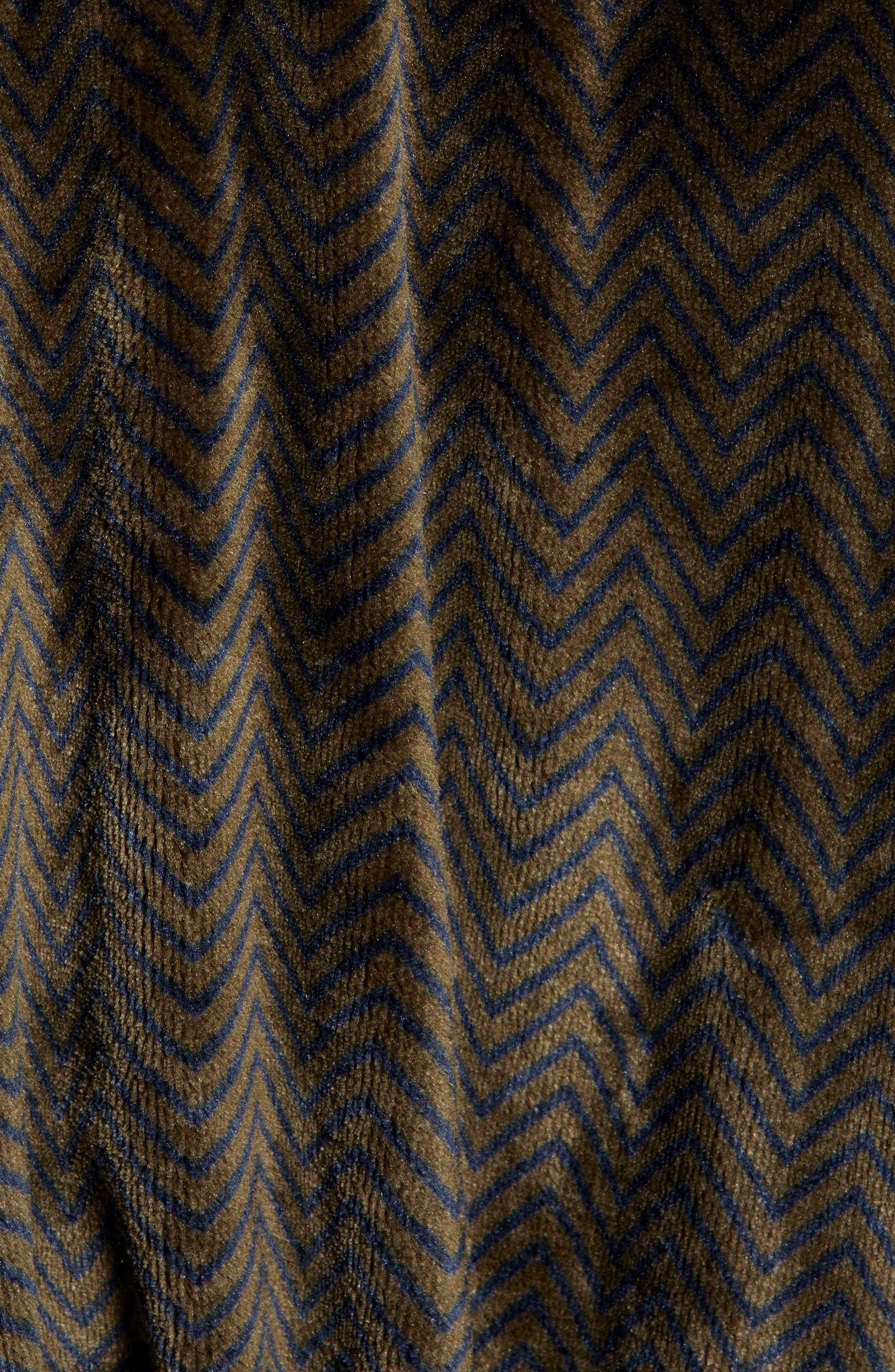 DANIEL BUCHLER, Chevron Fleece Robe, Alternate thumbnail 5, color, ARMY/ MIDNIGHT