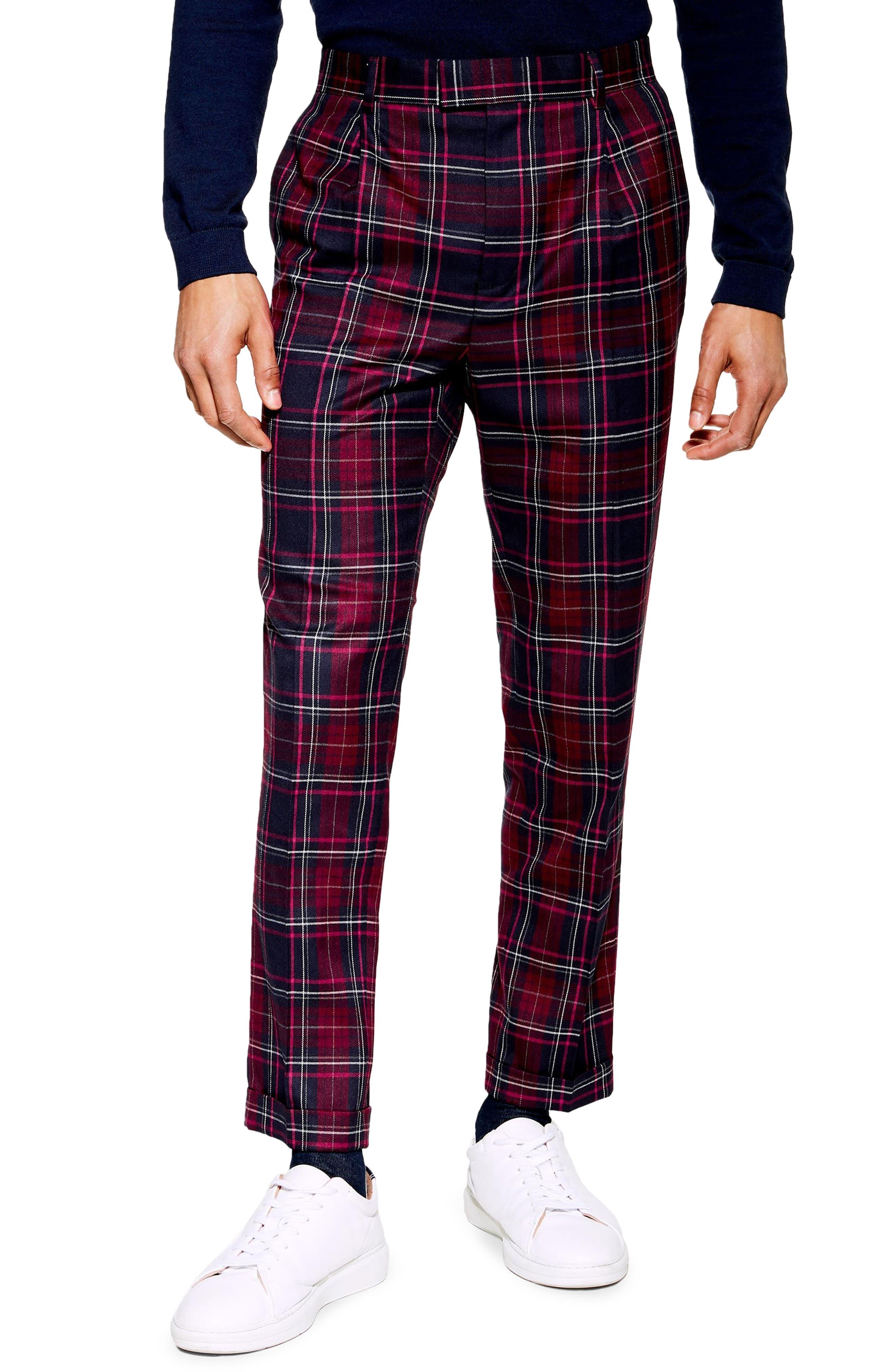 TOPMAN, Skinny Fit Check Trousers, Main thumbnail 1, color, BURGUNDY MULTI