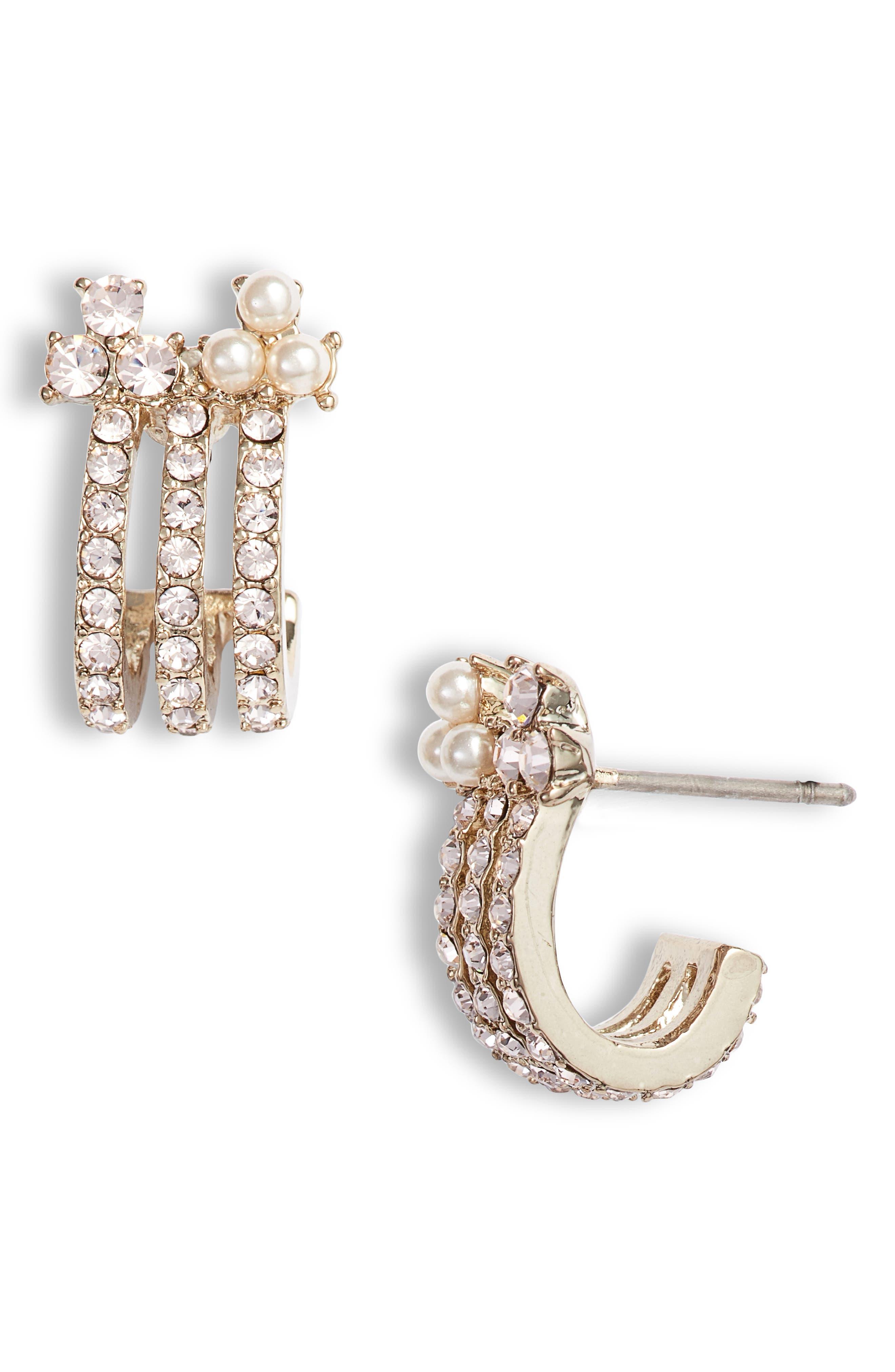 MARCHESA, Small Hoop Earrings, Main thumbnail 1, color, 710