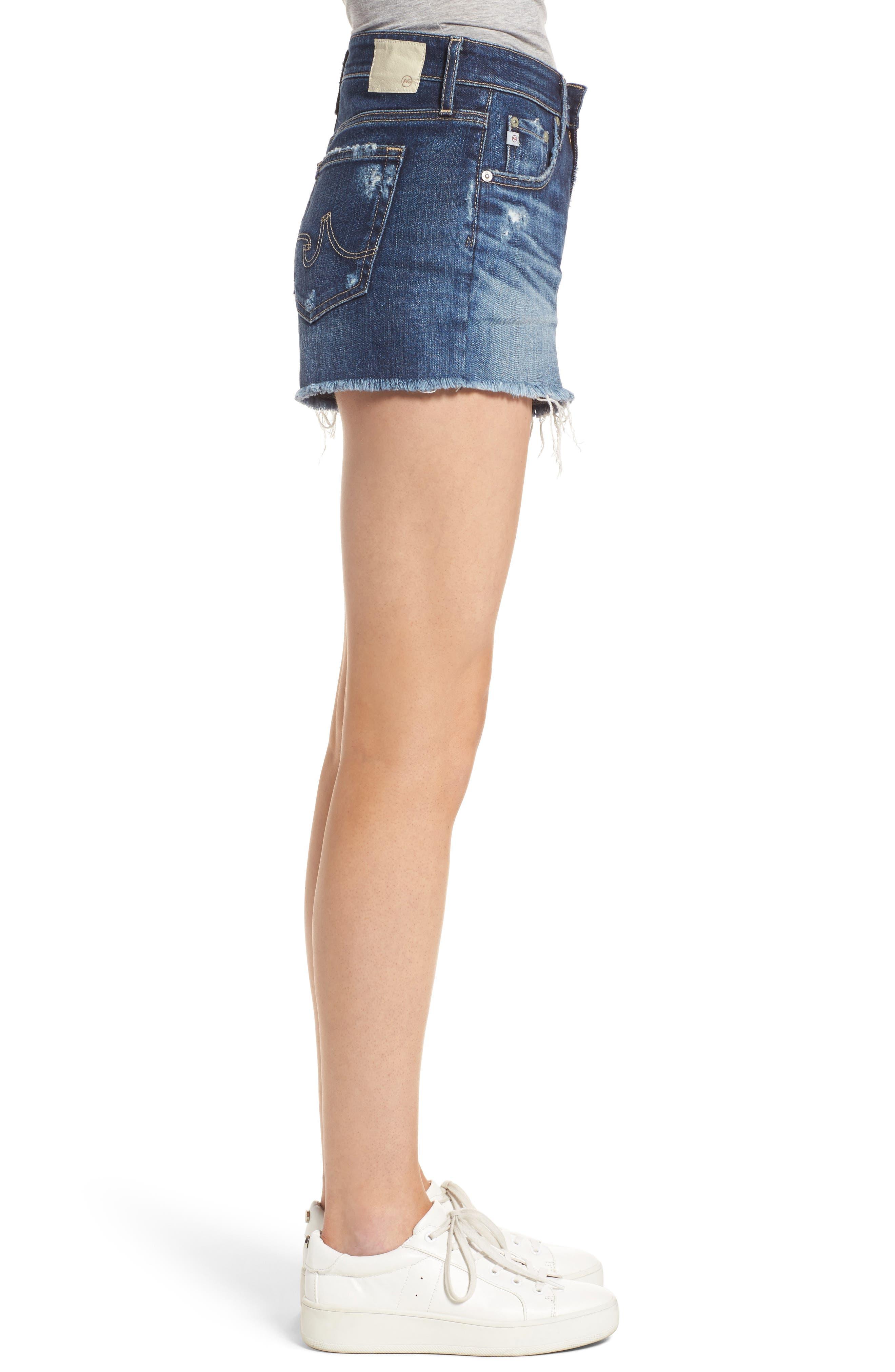AG, Bryn High Rise Cutoff Denim Shorts, Alternate thumbnail 4, color, 15Y BLUE DELUGE