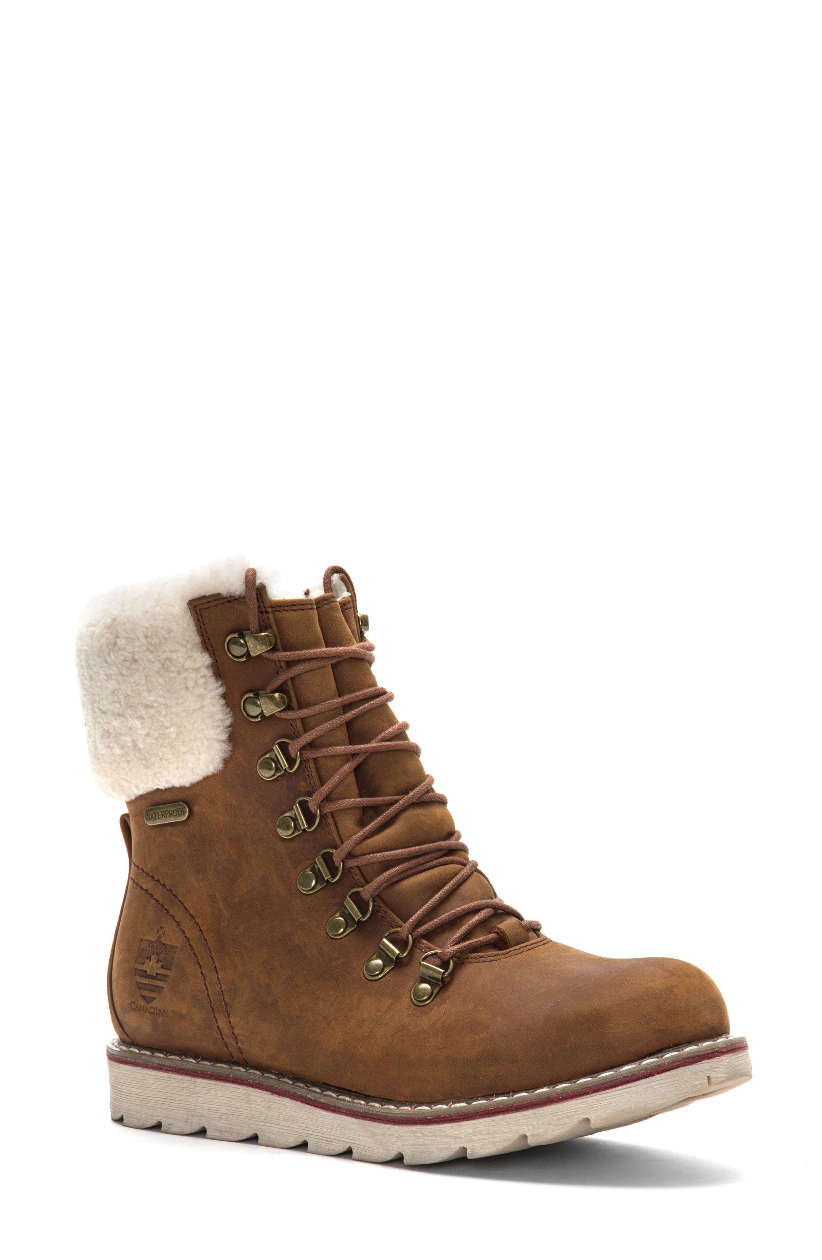 ROYAL CANADIAN, Lethbridge Waterproof Snow Boot with Genuine Shearling Cuff, Main thumbnail 1, color, COTTAGE BROWN LEATHER