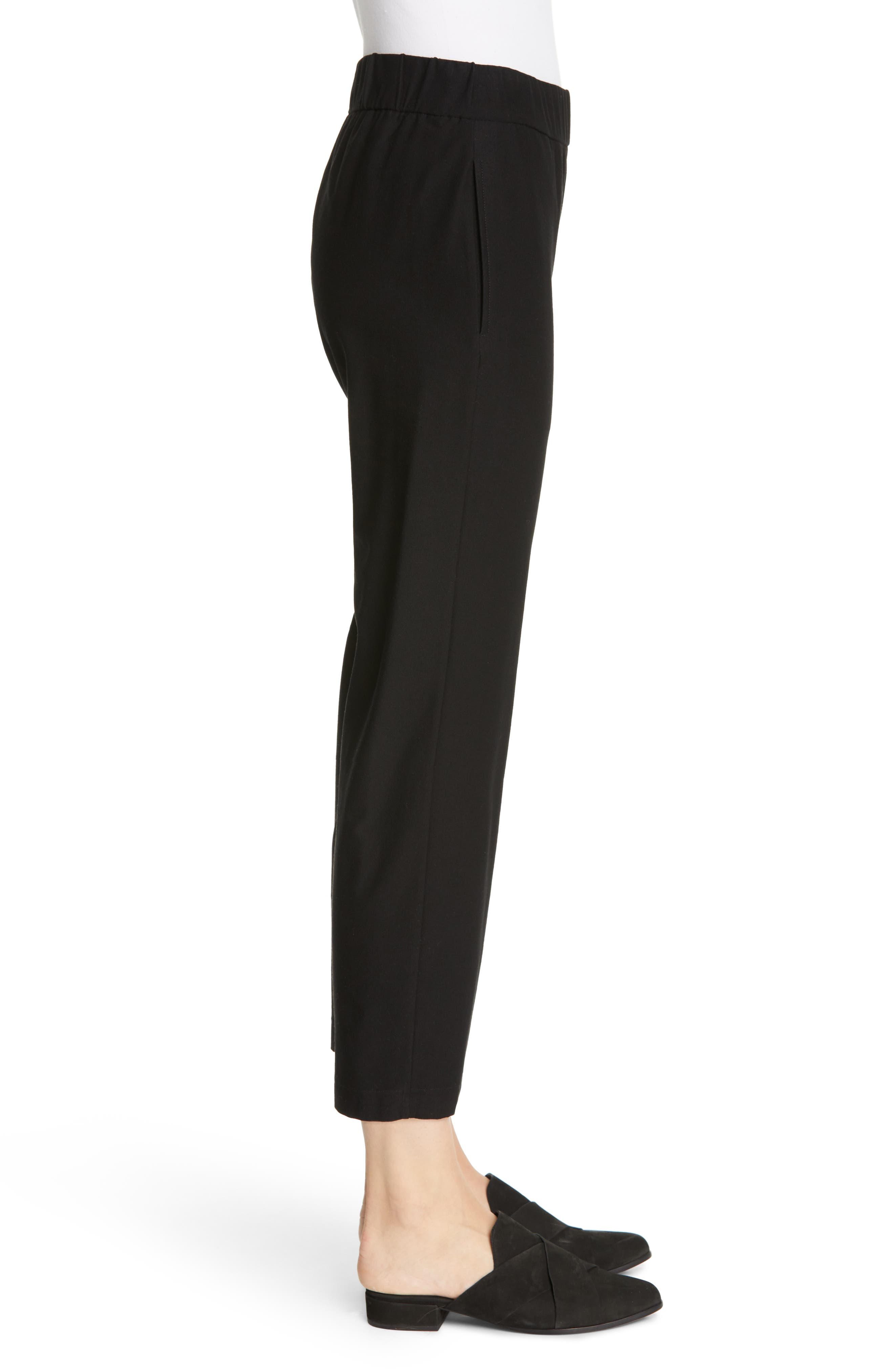EILEEN FISHER, Tapered Ankle Pants, Alternate thumbnail 4, color, BLACK
