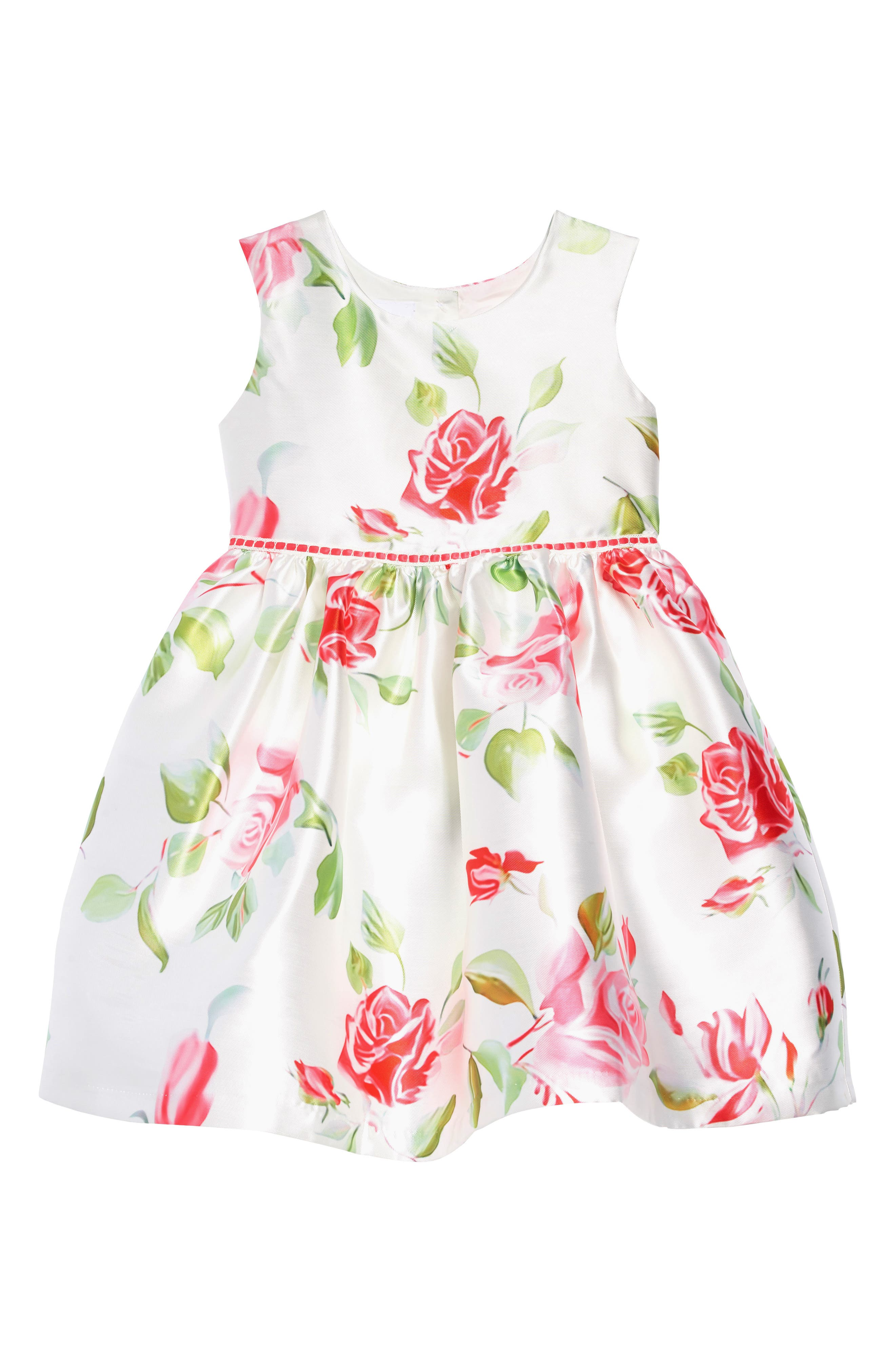 FRAIS, Rose Garden Fit & Flare Dress, Main thumbnail 1, color, WHITE / PINK