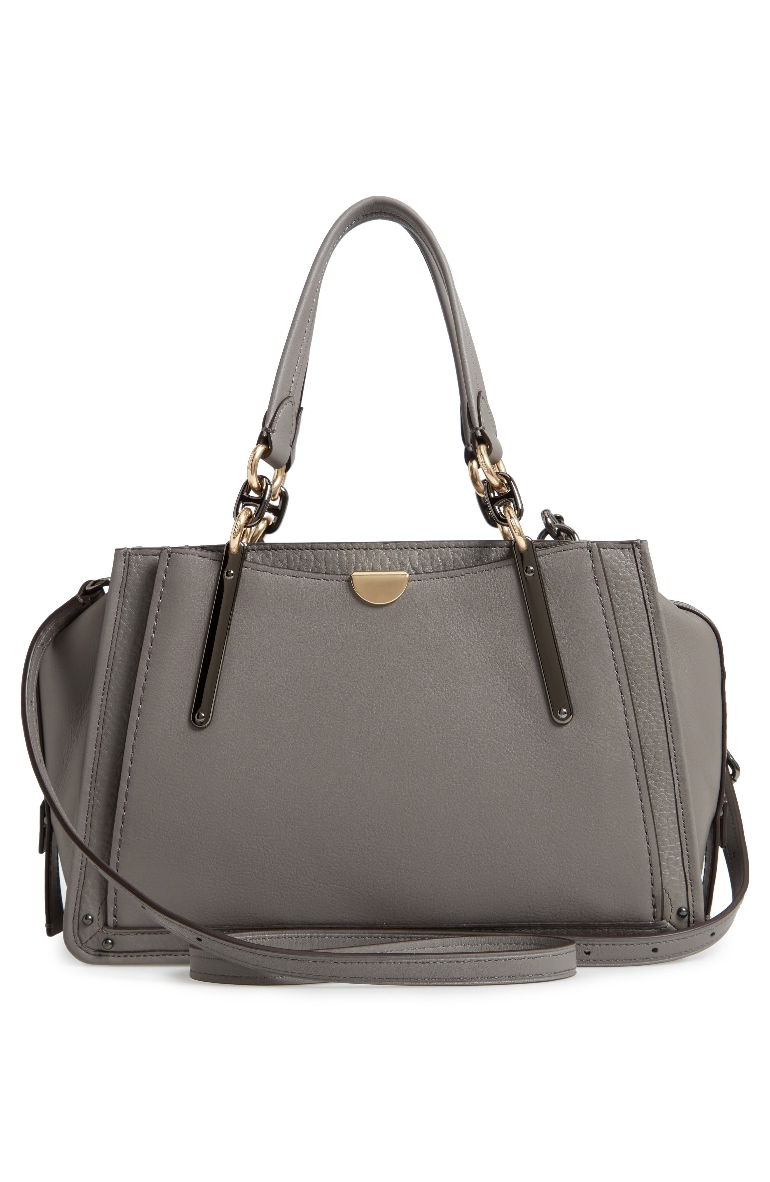 COACH, Dreamer Mixed Leather Bag, Alternate thumbnail 3, color, HEATHER GREY