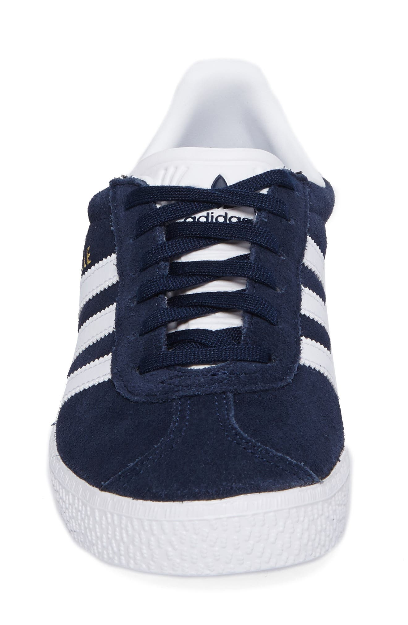 ADIDAS, Gazelle Sneaker, Alternate thumbnail 4, color, COLLEGIATE NAVY/ WHITE
