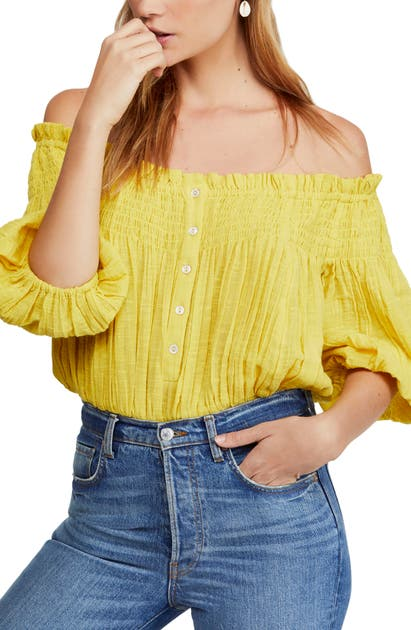 Free People Tops DANCING TILL DAWN OFF THE SHOULDER CROP TOP