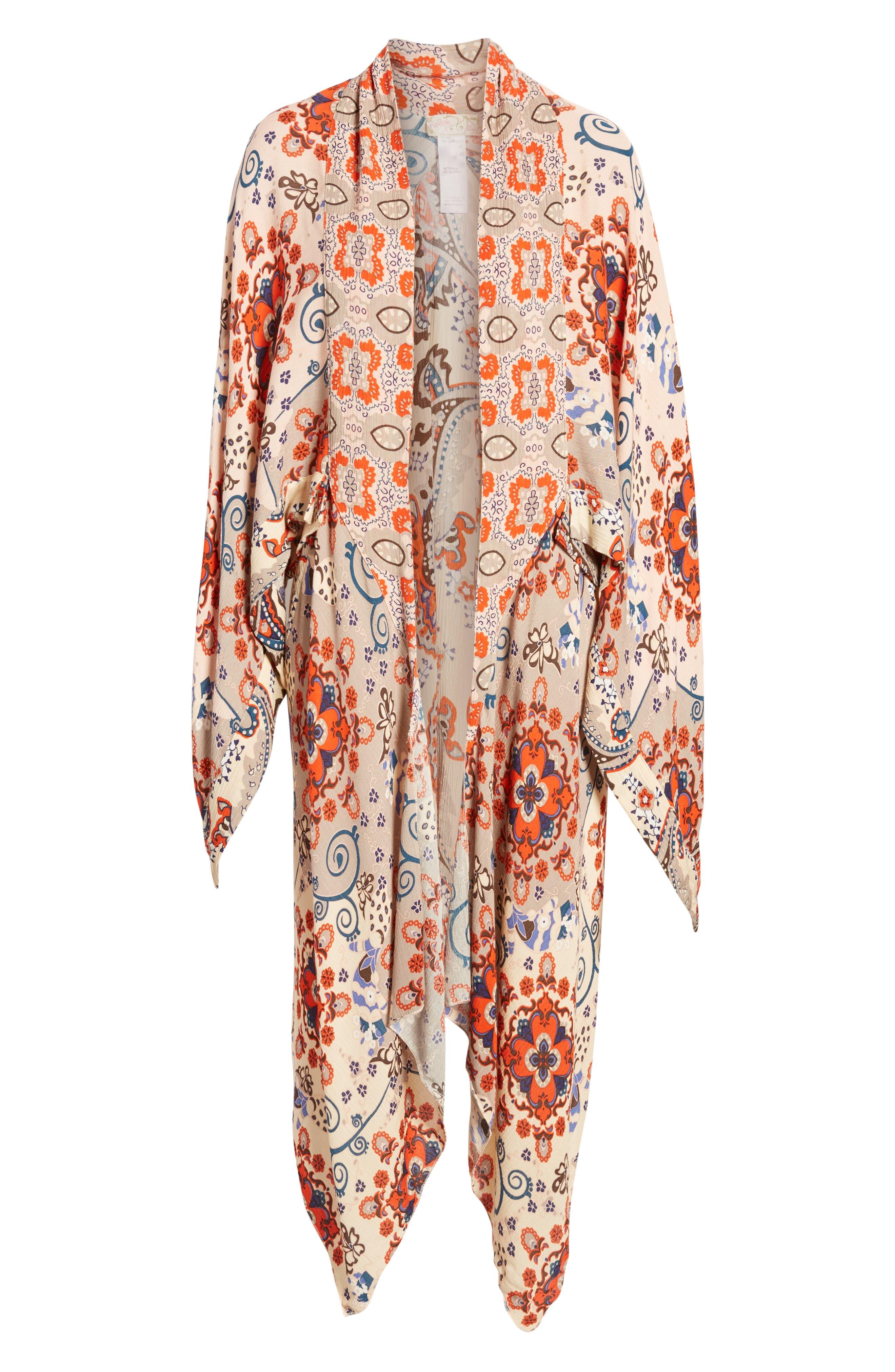 FREE PEOPLE, Little Wing Kimono, Alternate thumbnail 6, color, NEUTRAL